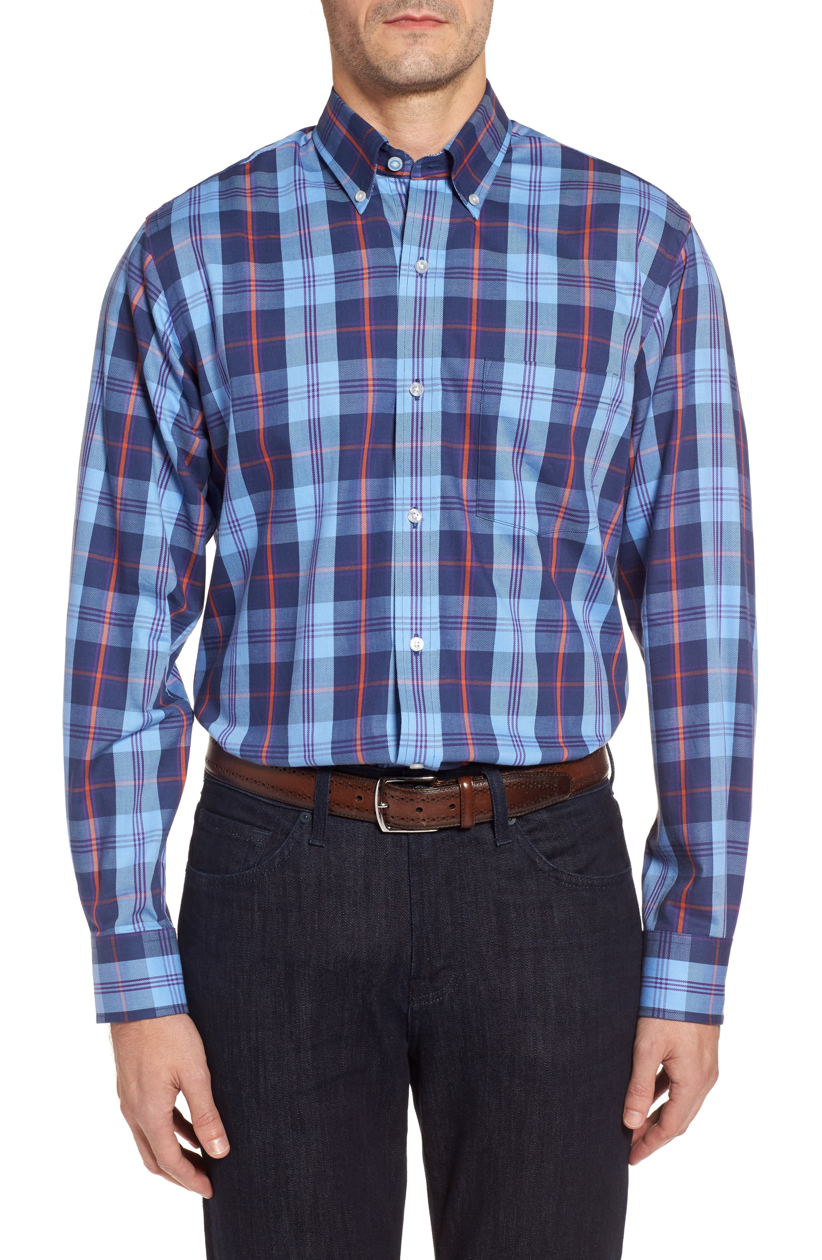 Delcambre Plaid Twill Sport Shirt,                             Main thumbnail 1, color,