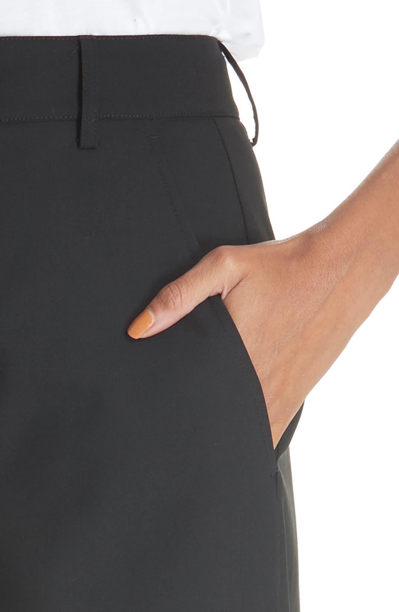 High Rise Wide Leg Crop Pant,                             Alternate thumbnail 4, color,                             001