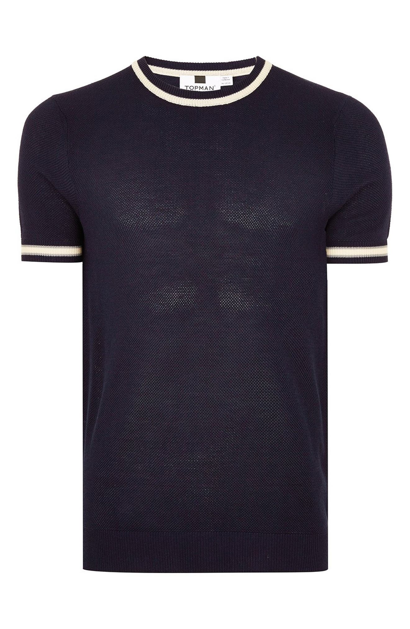 Tipping Classic Fit Short Sleeve Sweater,                             Alternate thumbnail 4, color,                             NAVY BLUE