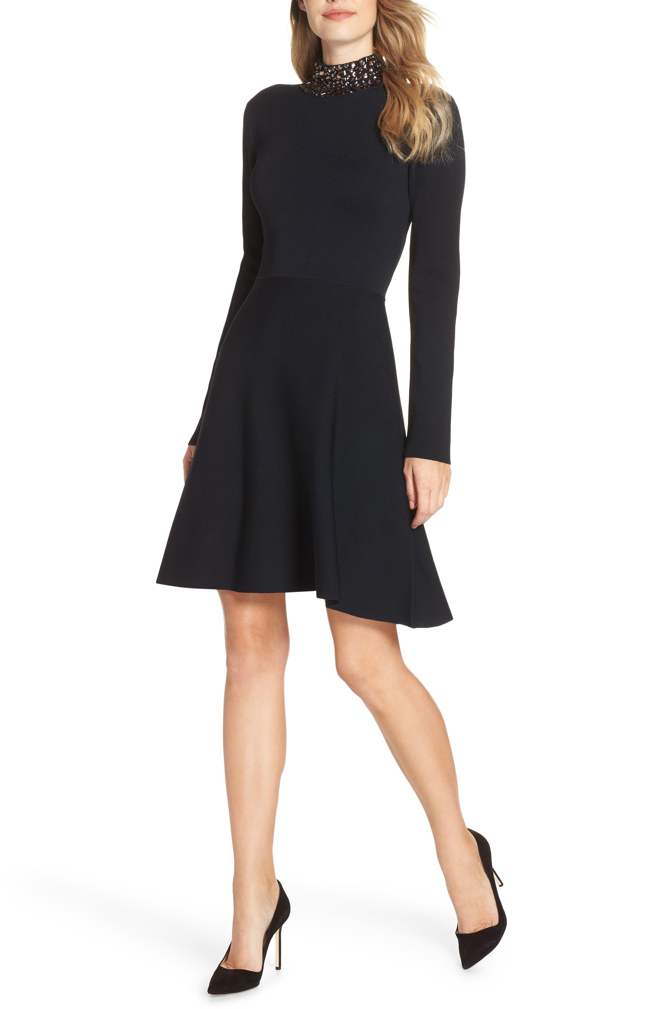 Eliza J Jeweled Mock Neck Fit & Flare Sweater Dress