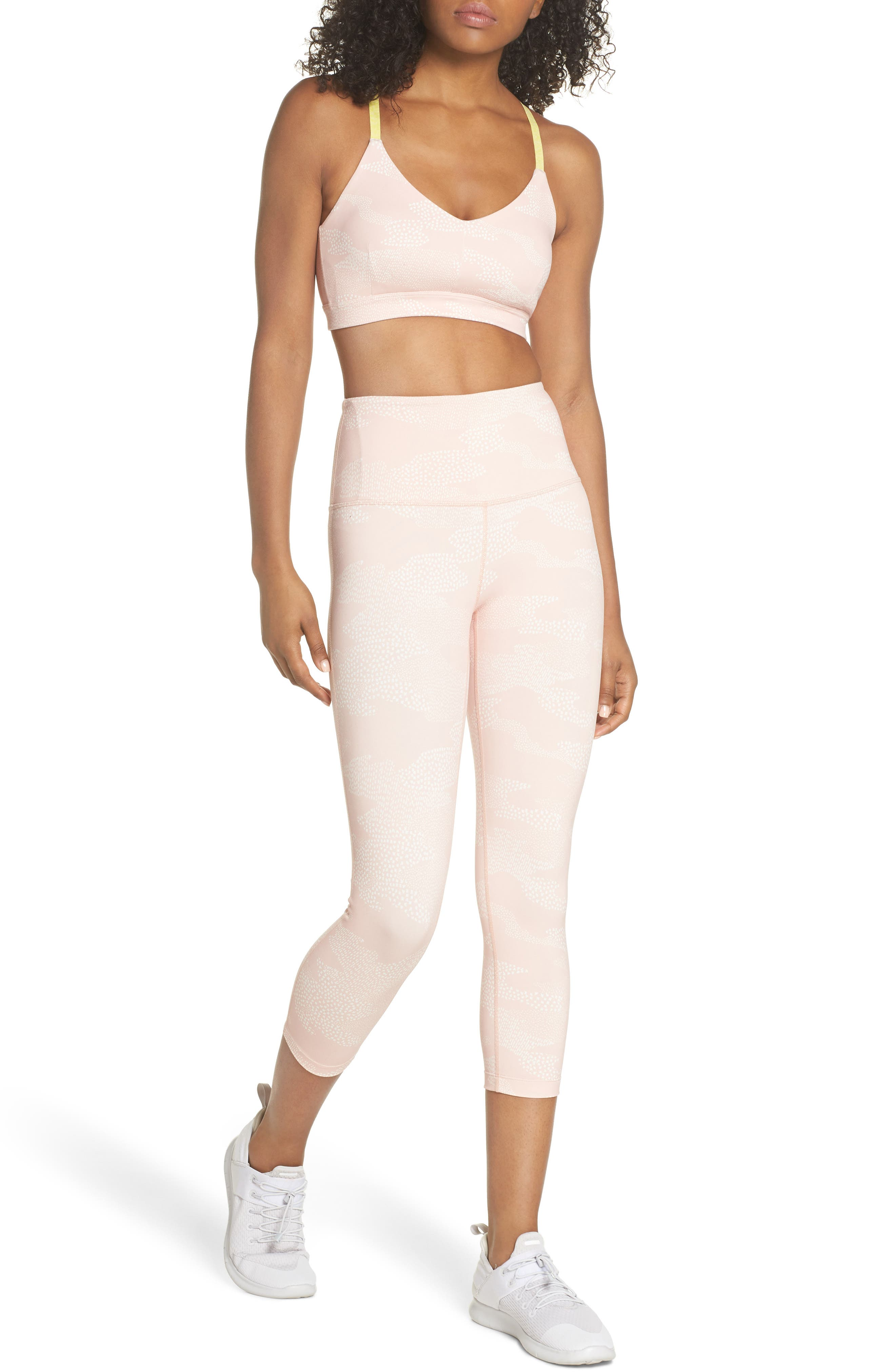 Live In High Waist Crop Leggings,                             Alternate thumbnail 8, color,                             PINK ROSECLOUD DOT CAMO