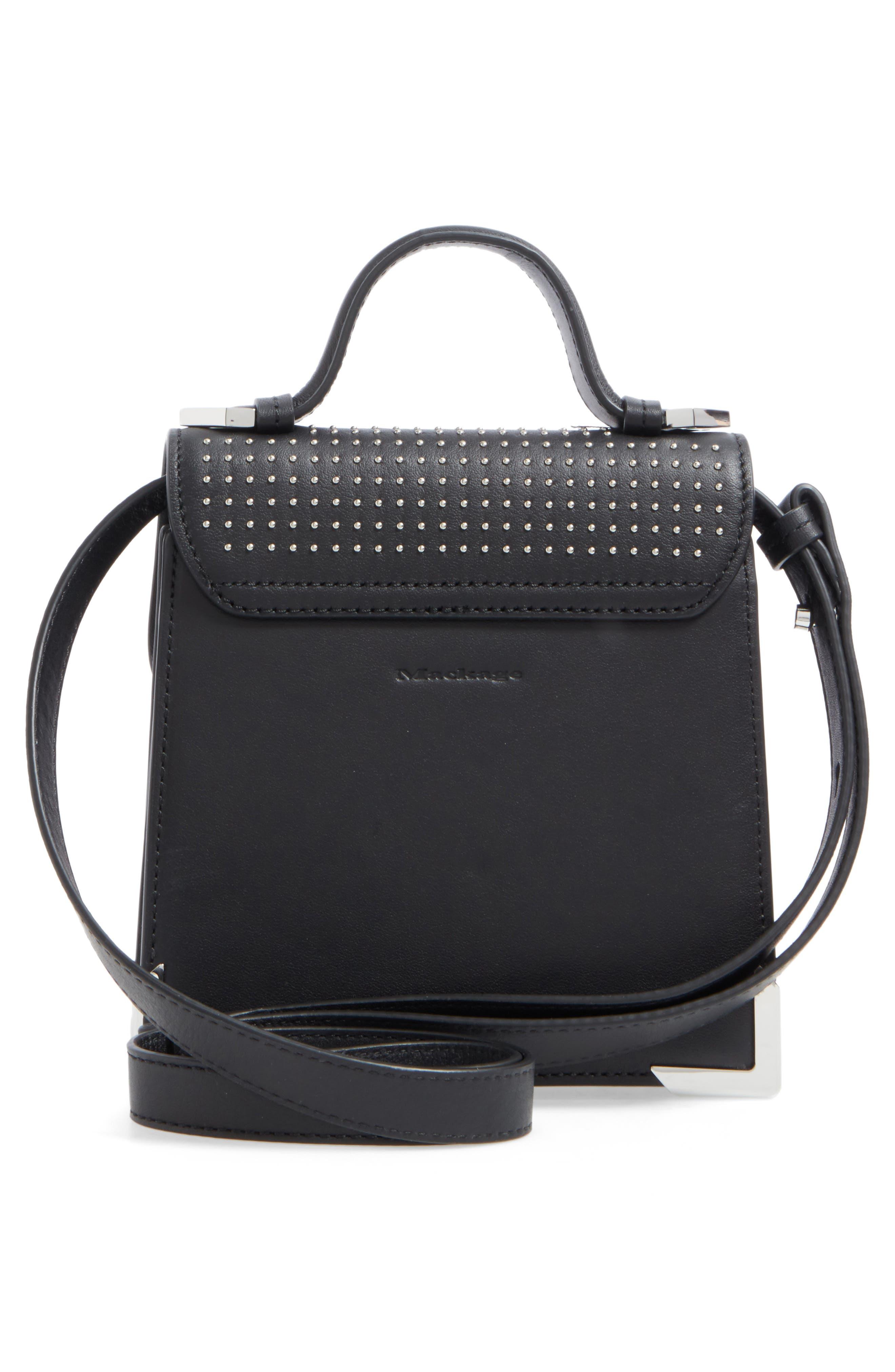 MACKAGE,                             Mini Rubie Leather Crossbody Bag,                             Alternate thumbnail 3, color,                             001