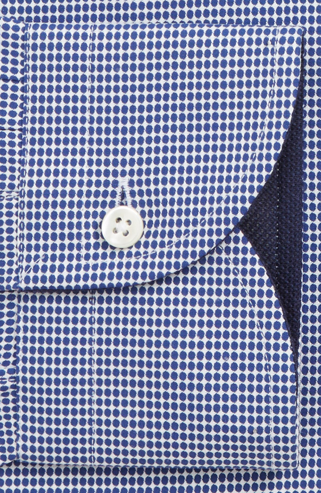 Slim Fit Dot Dress Shirt,                             Alternate thumbnail 7, color,                             NAVY