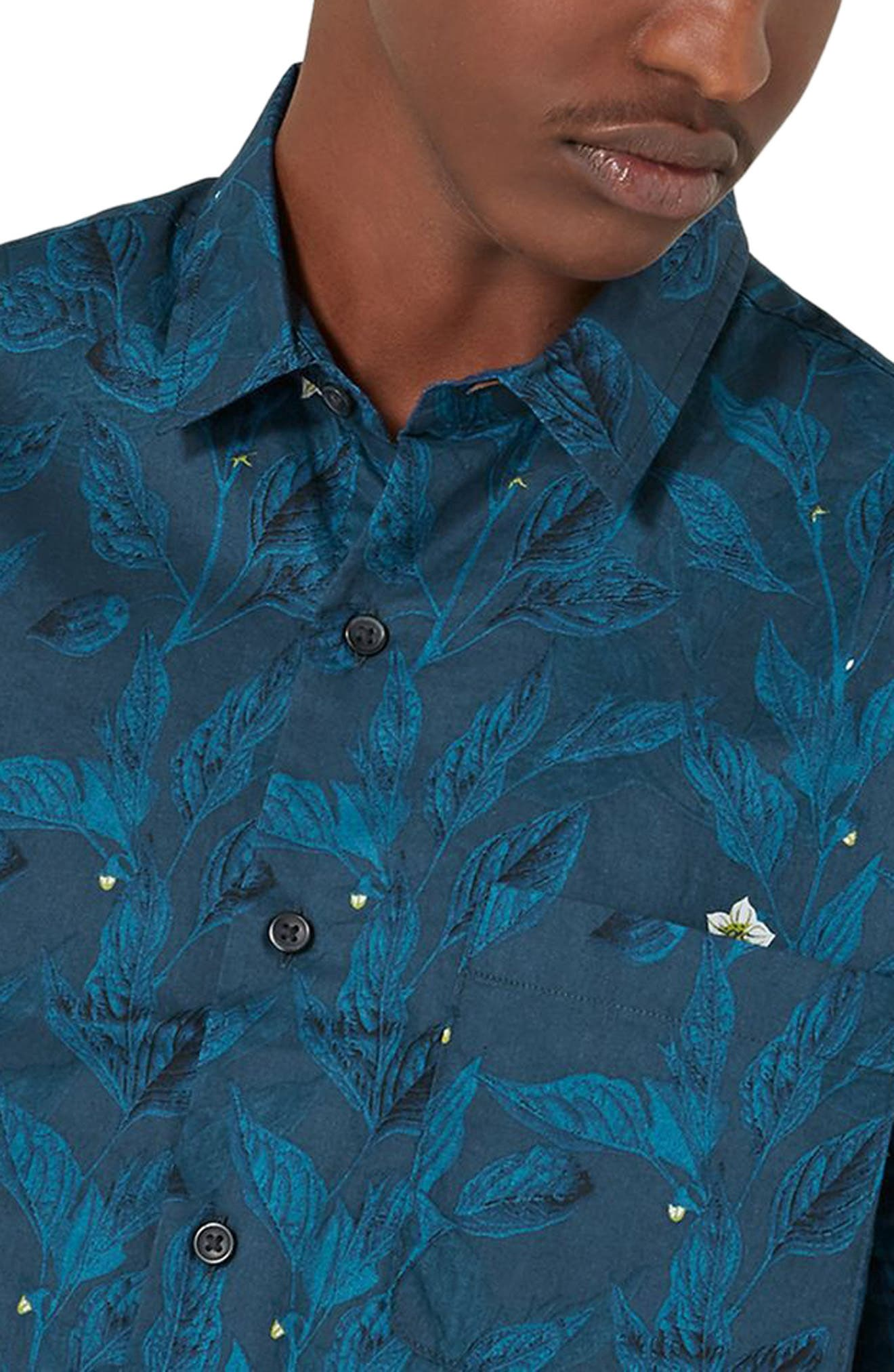 Floral Print Shirt,                             Alternate thumbnail 3, color,                             400