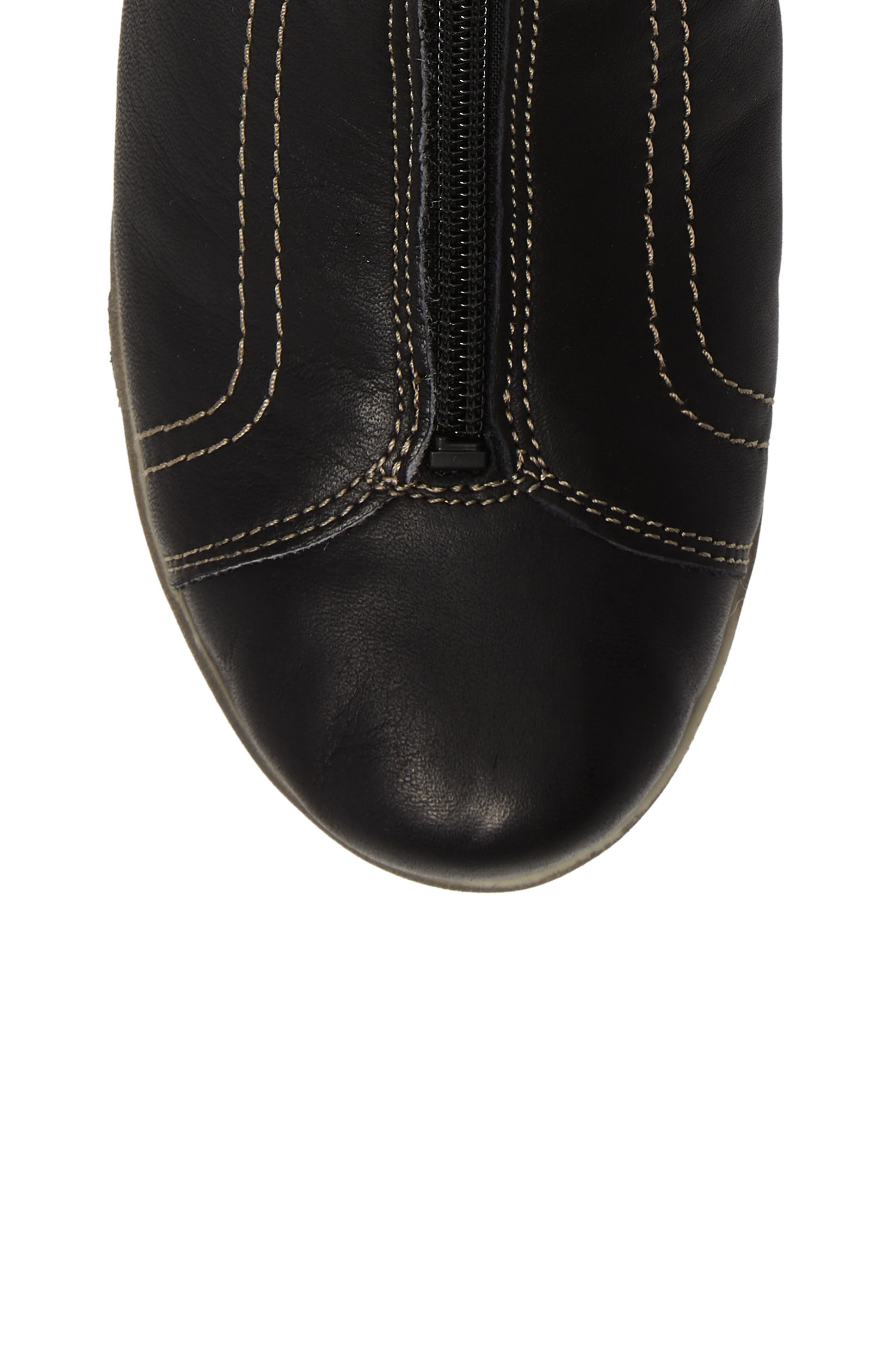 Amiga Wool Lined Bootie,                             Alternate thumbnail 5, color,                             BLACK LEATHER