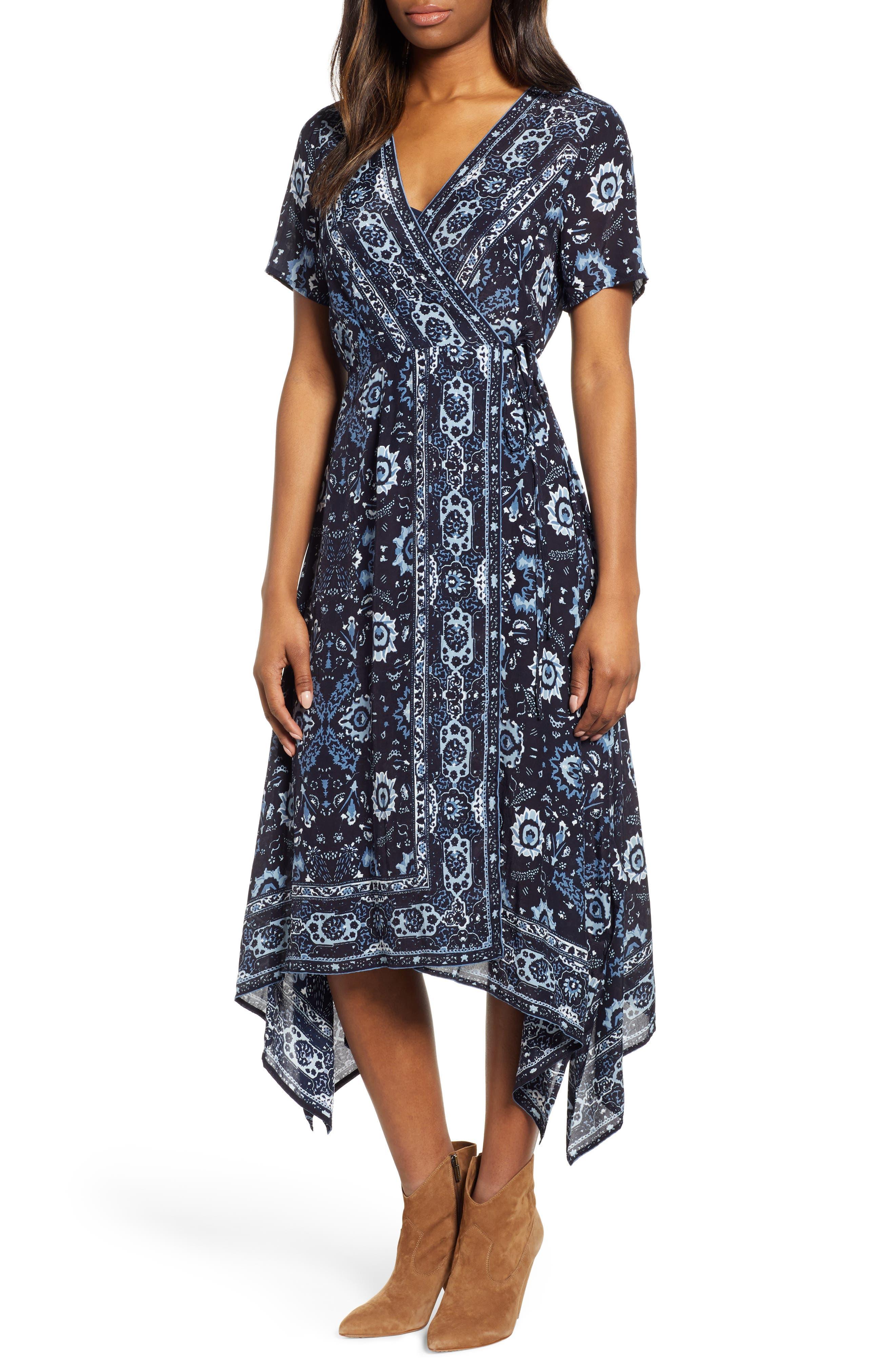 Lucky Brand Ashley Print Wrap Dress, Blue
