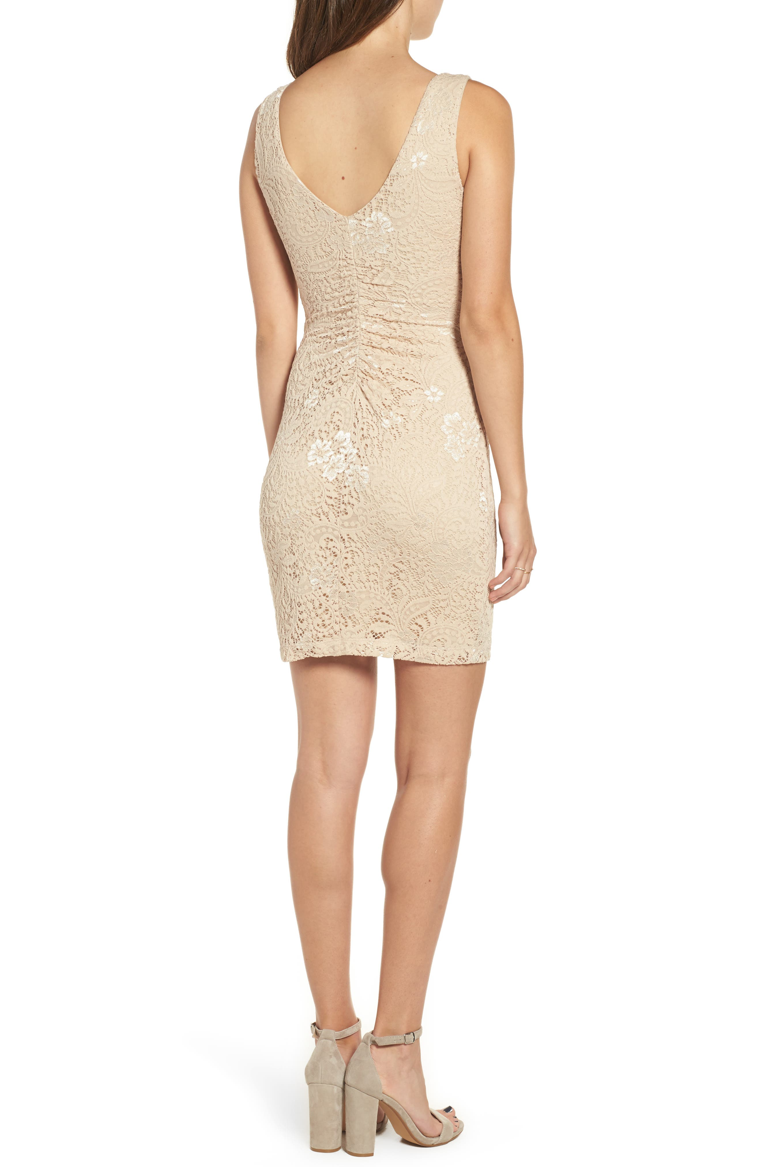 Love Nickie Lew Lace Body Con Dress,                             Alternate thumbnail 4, color,