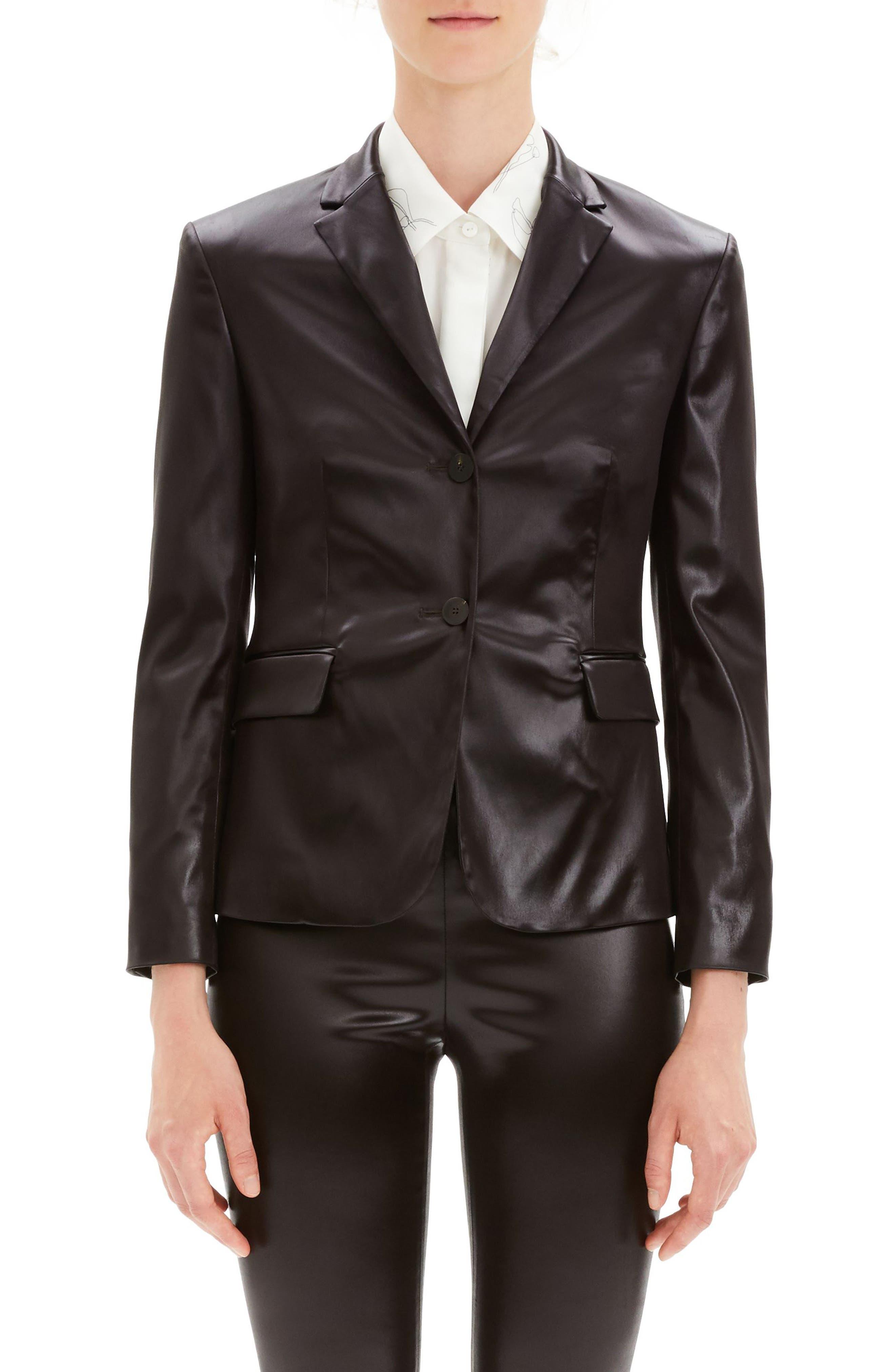Faux Leather Shrunken Jacket,                             Main thumbnail 1, color,                             MINK BROWN