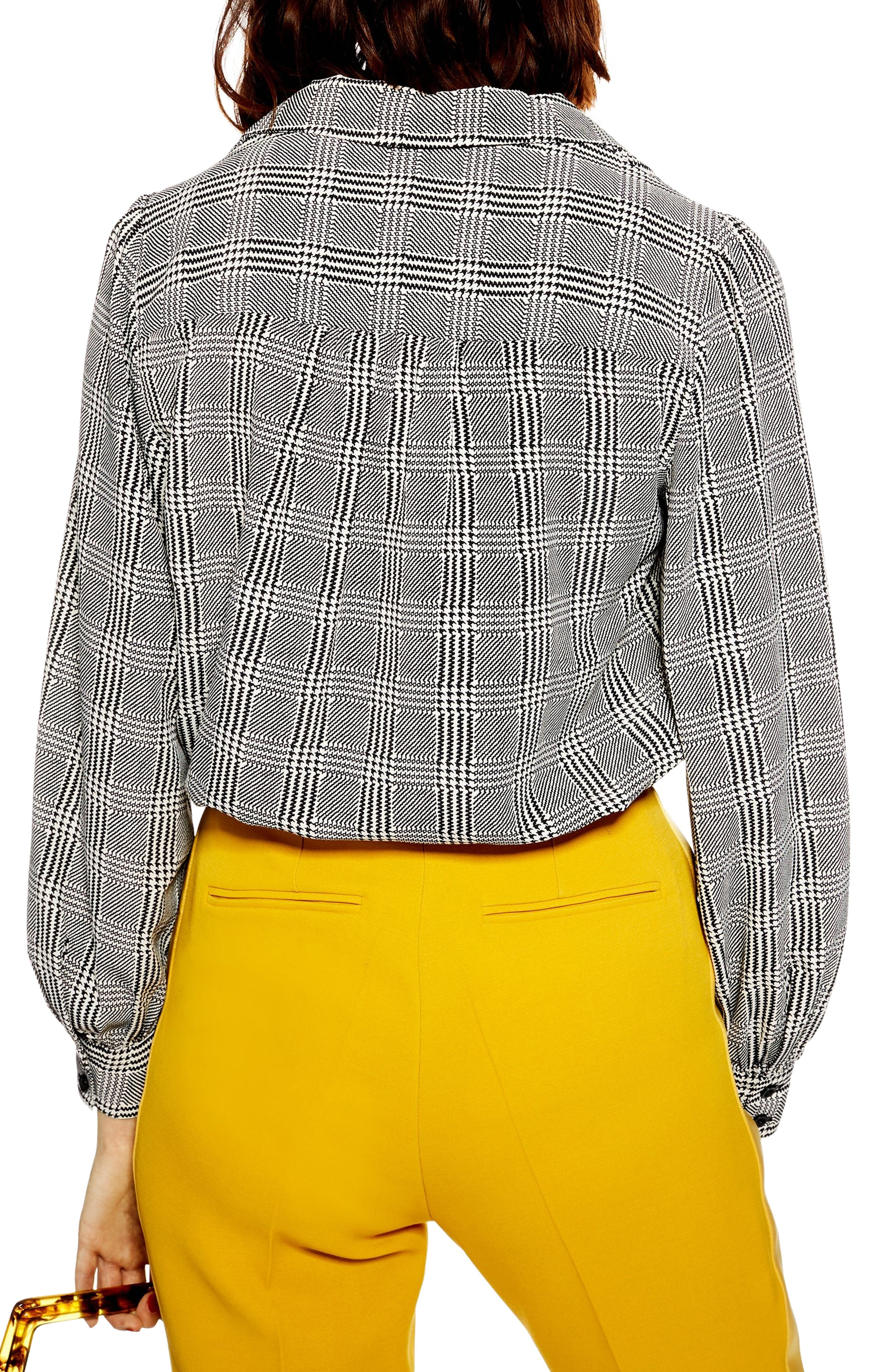TOPSHOP,                             Houndstooth Shirt,                             Alternate thumbnail 2, color,                             BLACK MULTI