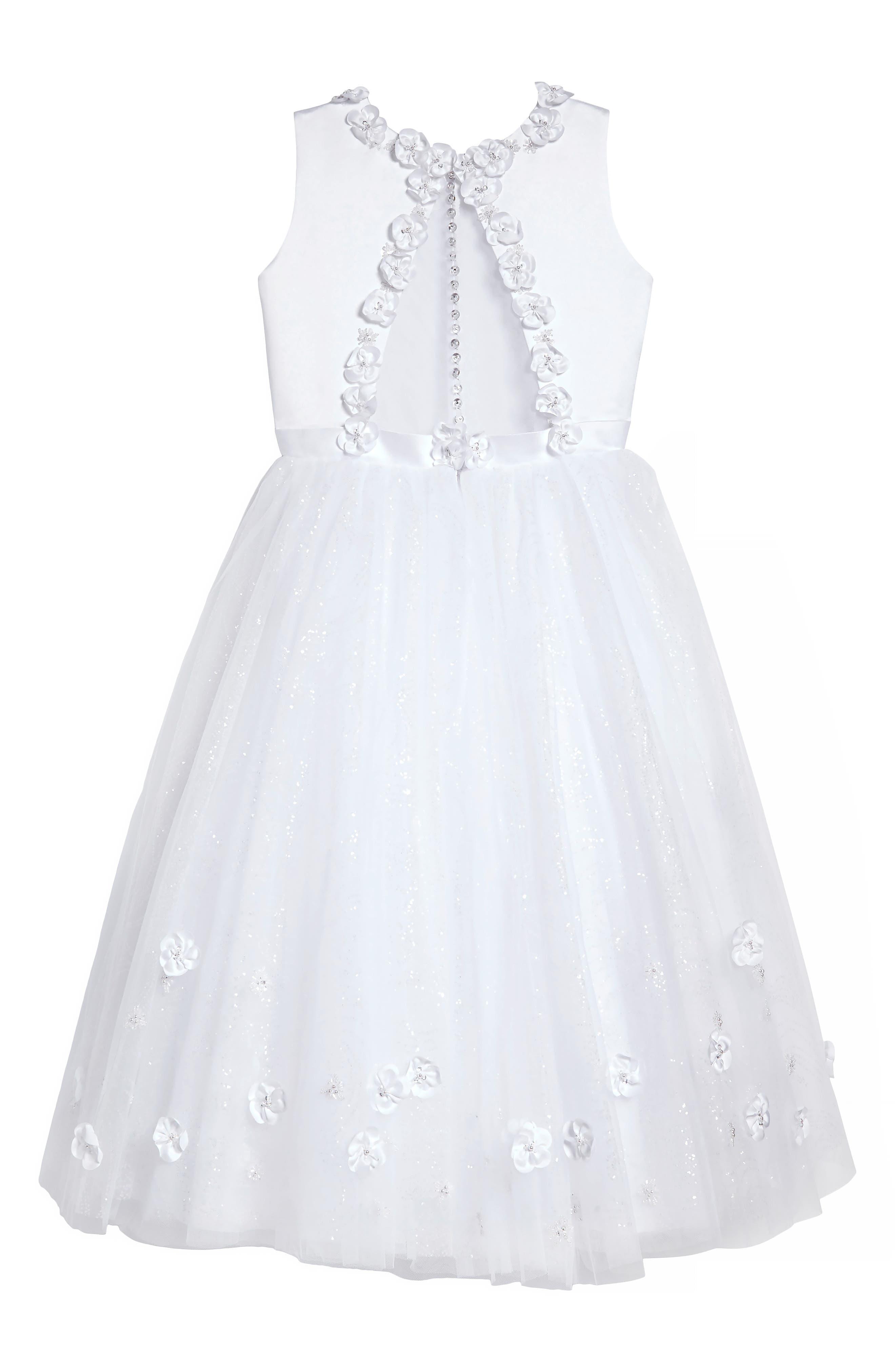 Floral Appliqué First Communion Dress,                             Alternate thumbnail 2, color,