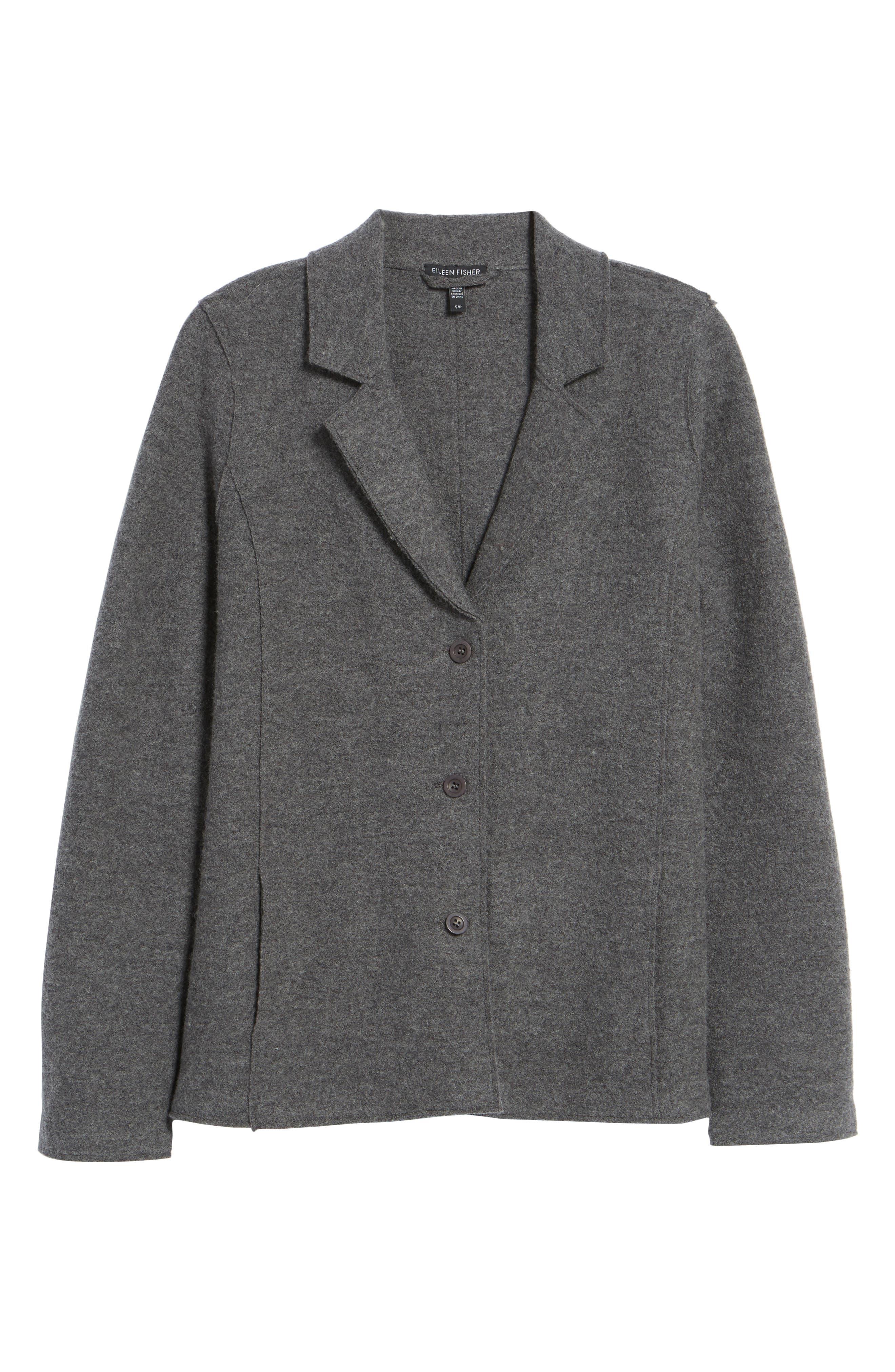 Notch Collar Merino Wool Jacket,                             Alternate thumbnail 5, color,                             030