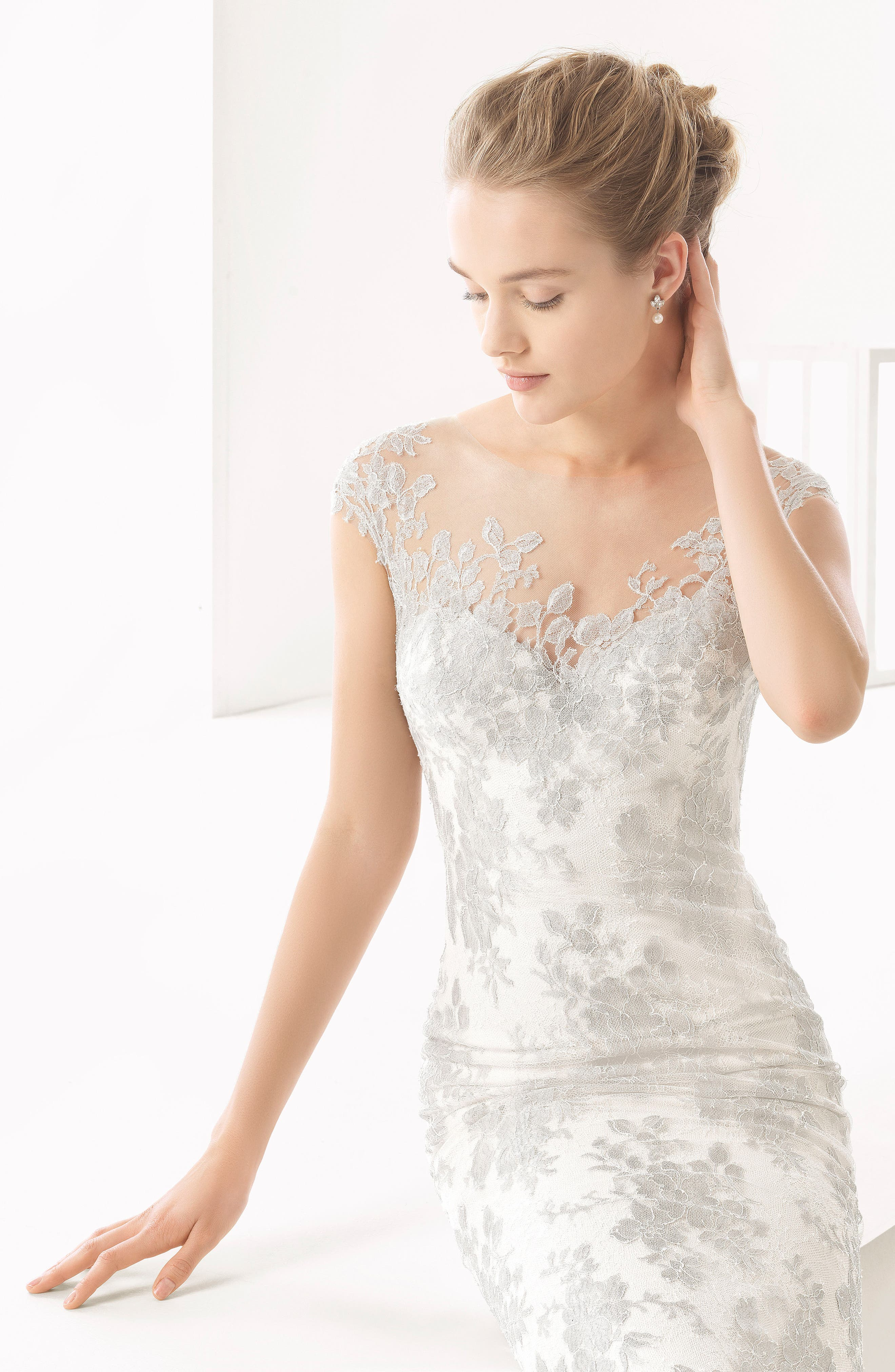 Naia Silver Chantilly Lace Mermaid Gown,                             Alternate thumbnail 5, color,                             250
