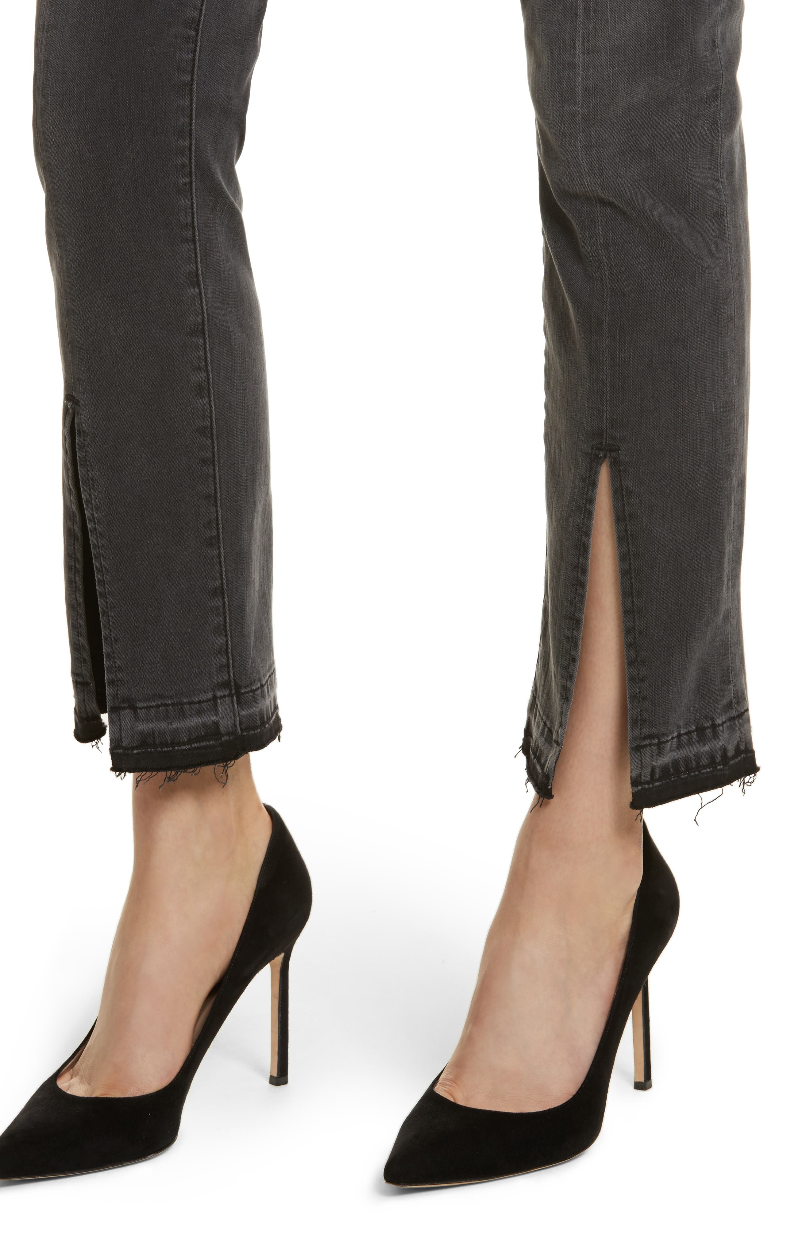 Le Nouveau Straight Split Hem Skinny Jeans,                             Alternate thumbnail 4, color,                             020