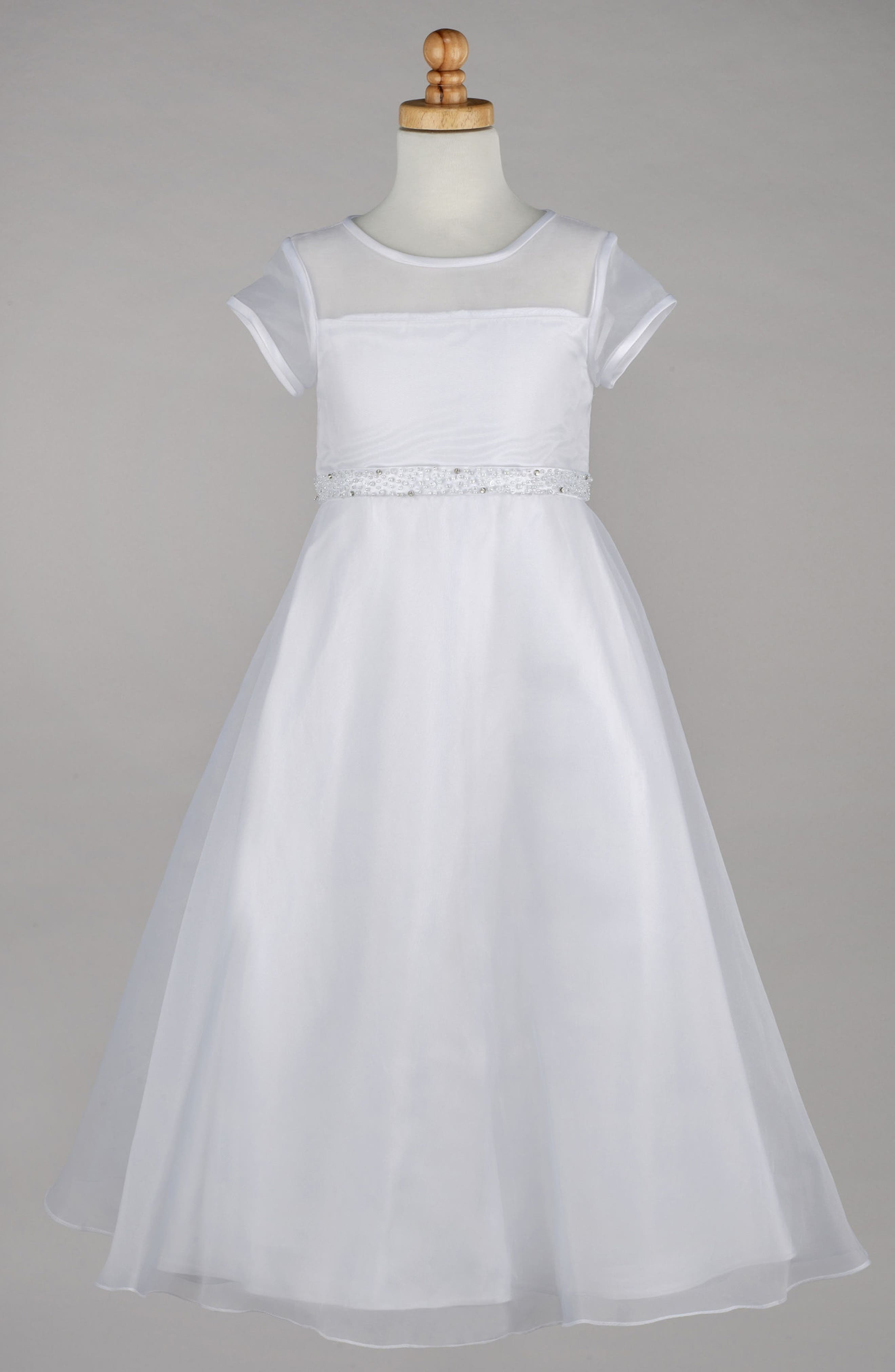Beaded A-Line First Communion Dress,                             Alternate thumbnail 2, color,                             100