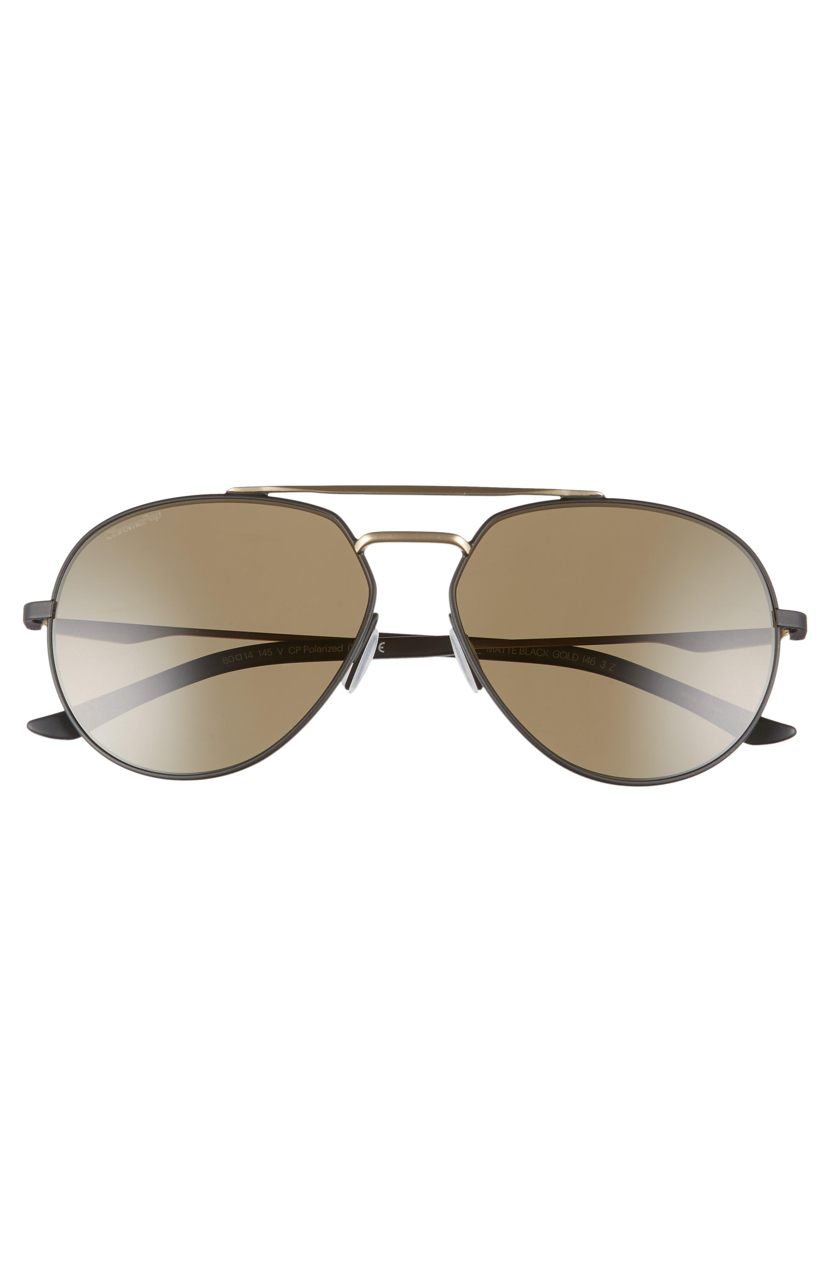 SMITH,                             Westgate 60mm ChromaPop<sup>™</sup> Polarized Aviator Sunglasses,                             Alternate thumbnail 3, color,                             MATTE BLACK/ GOLD