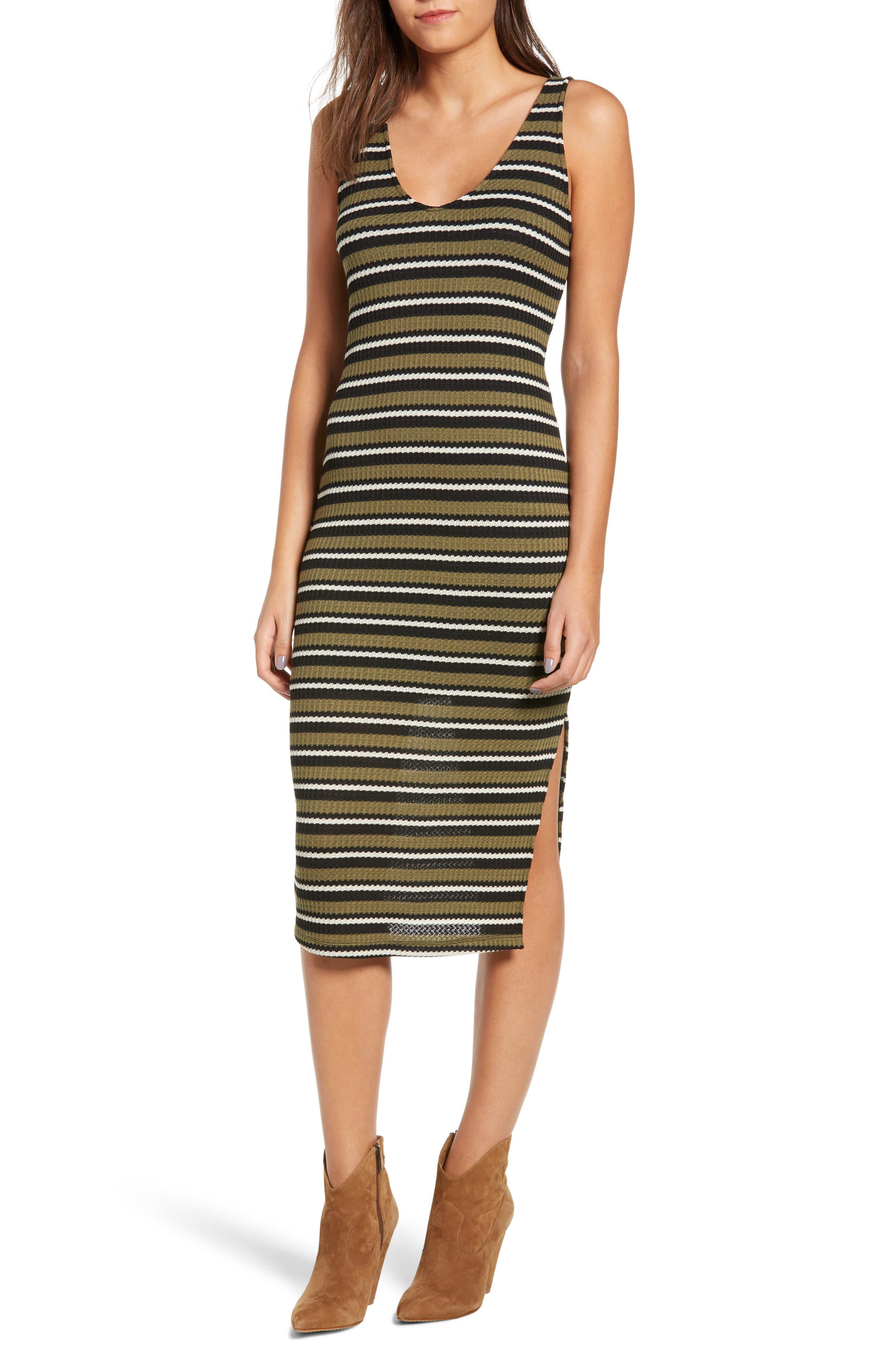 All In Favor Stripe Knit Tank Dress, Green