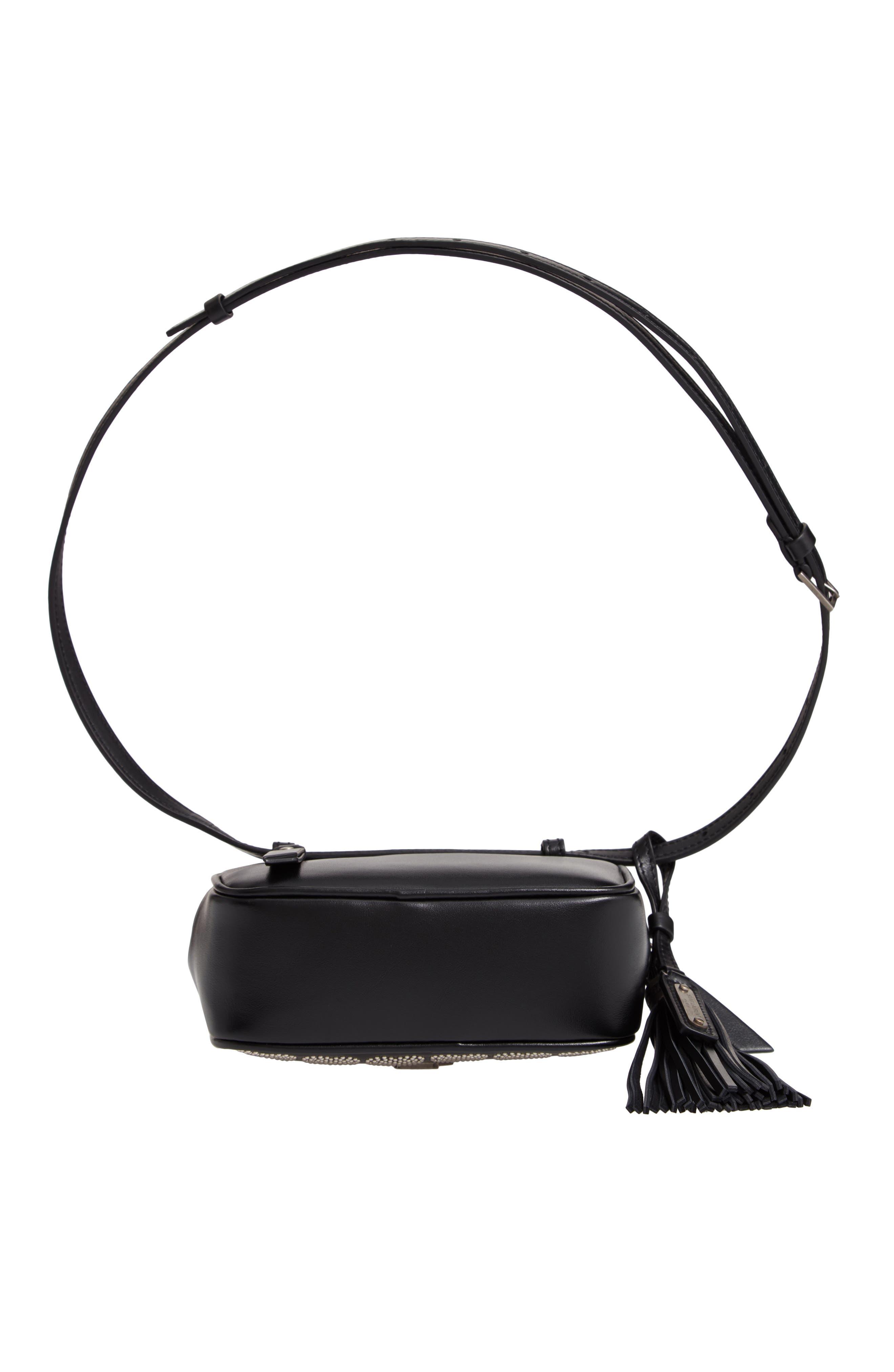 Micro Lou Stud Hearts Calfskin Leather Belt Bag,                             Alternate thumbnail 7, color,                             NOIR