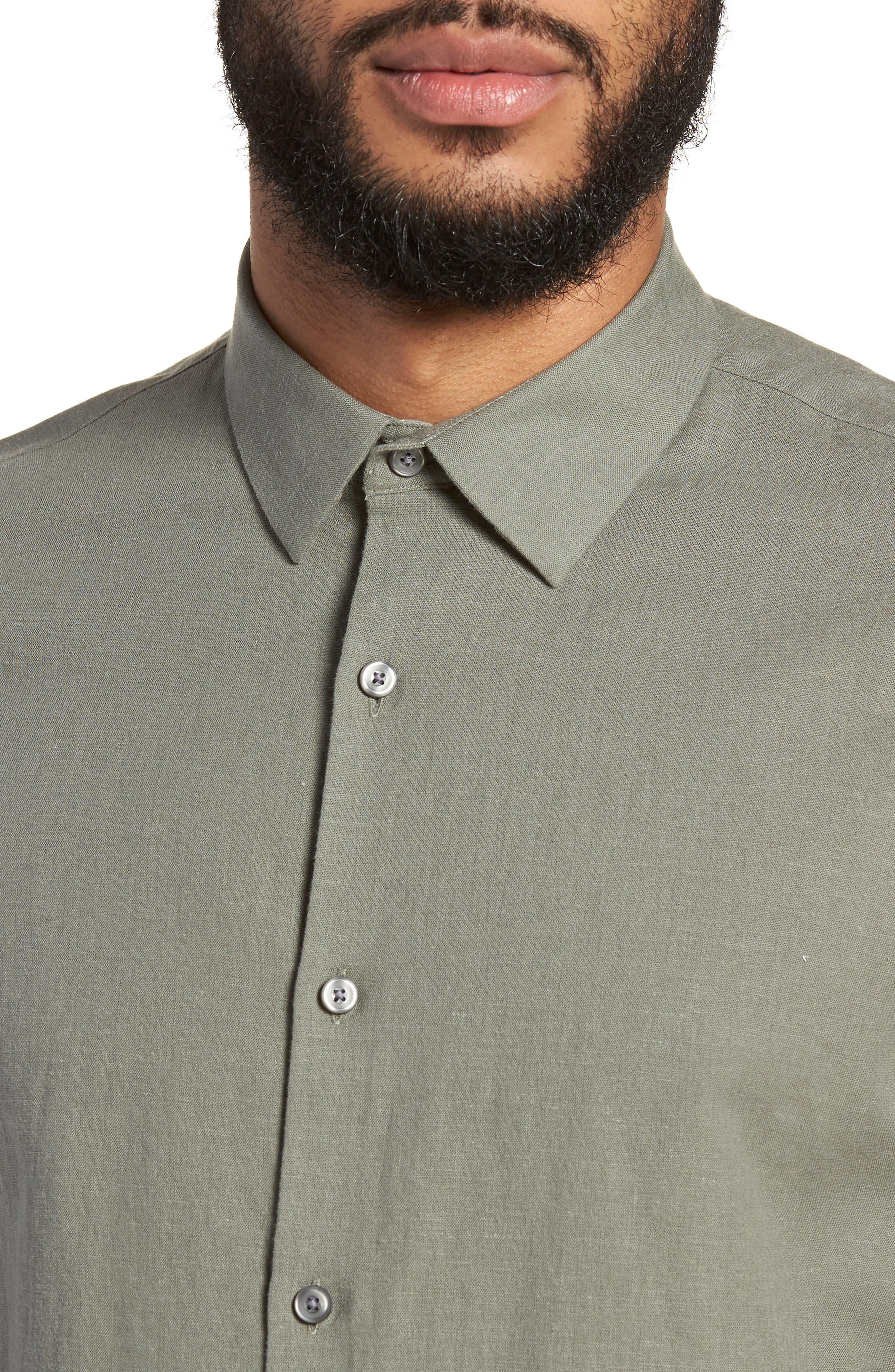 Linen Blend Sport Shirt,                             Alternate thumbnail 4, color,                             021