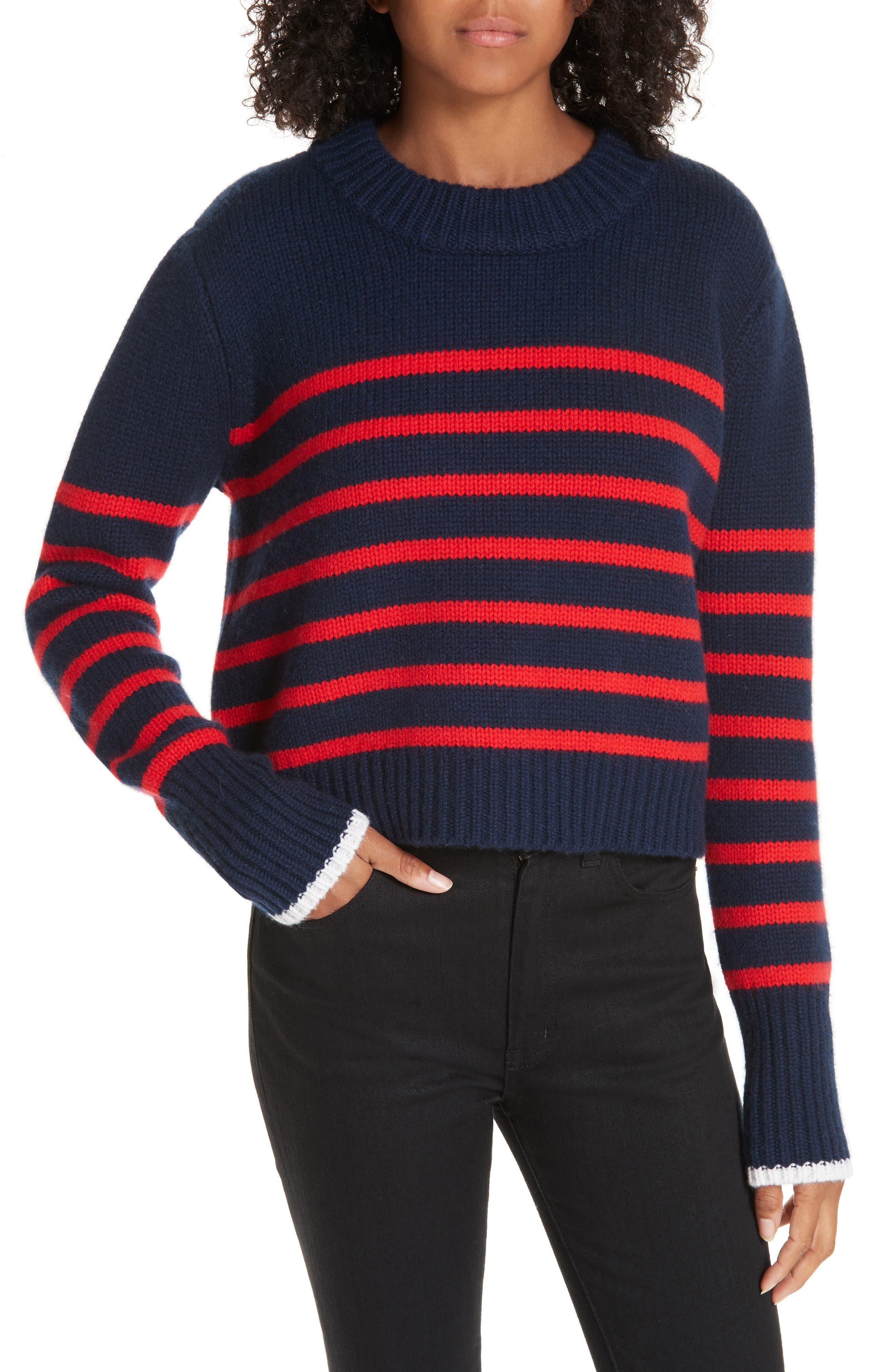 LA LIGNE Mini Maren Wool & Cashmere Sweater in Navy / Red