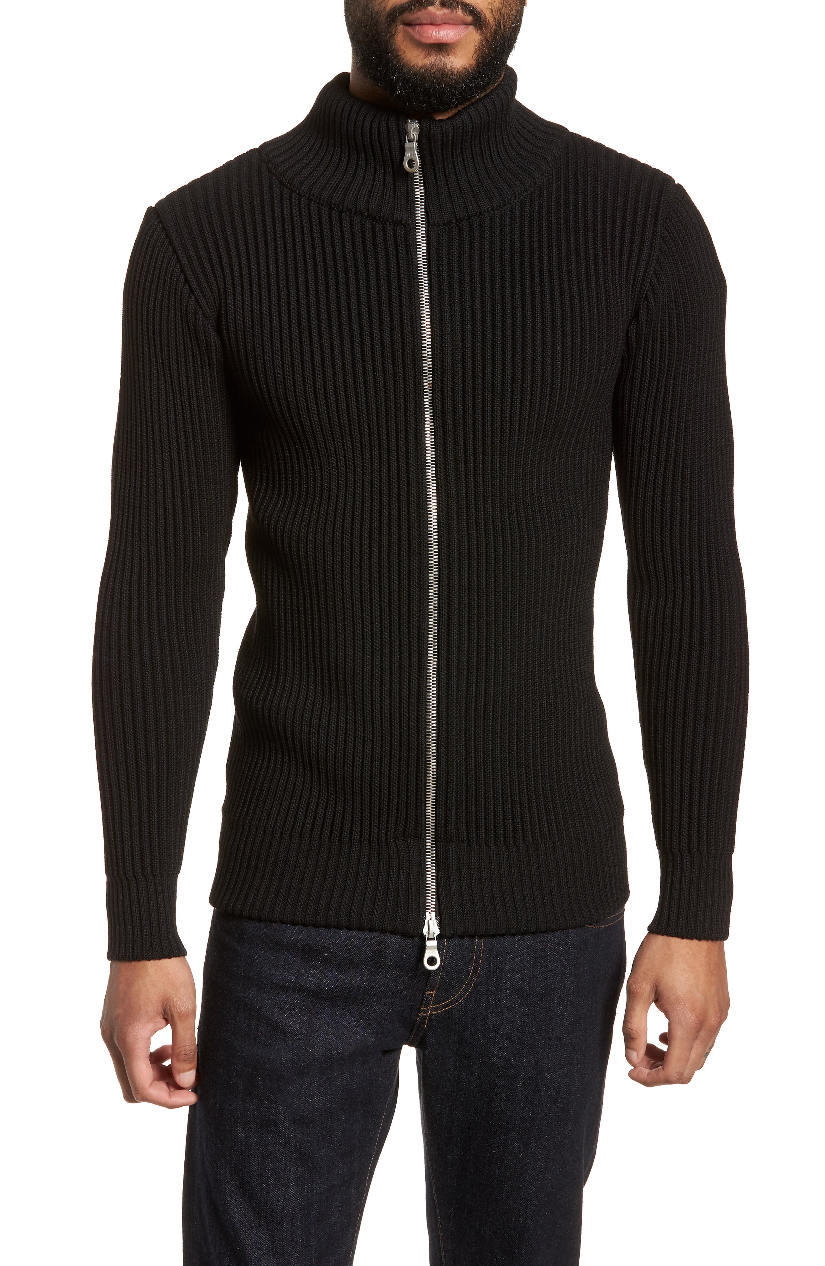 S.N.S. HERNING Fang Wool Sweater Jacket, Main, color, 001