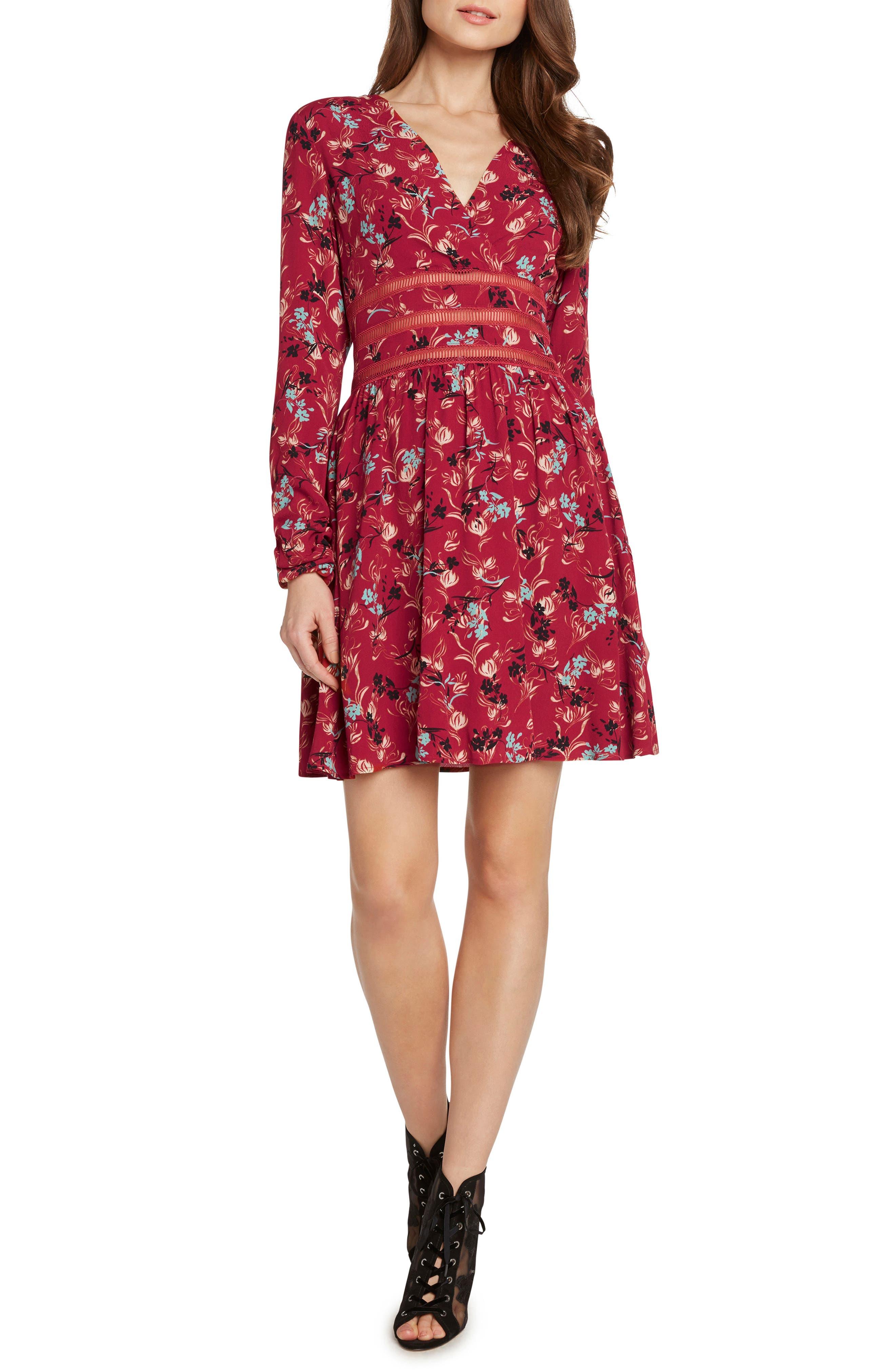 Crochet Detail Faux Wrap Dress,                             Main thumbnail 1, color,                             647