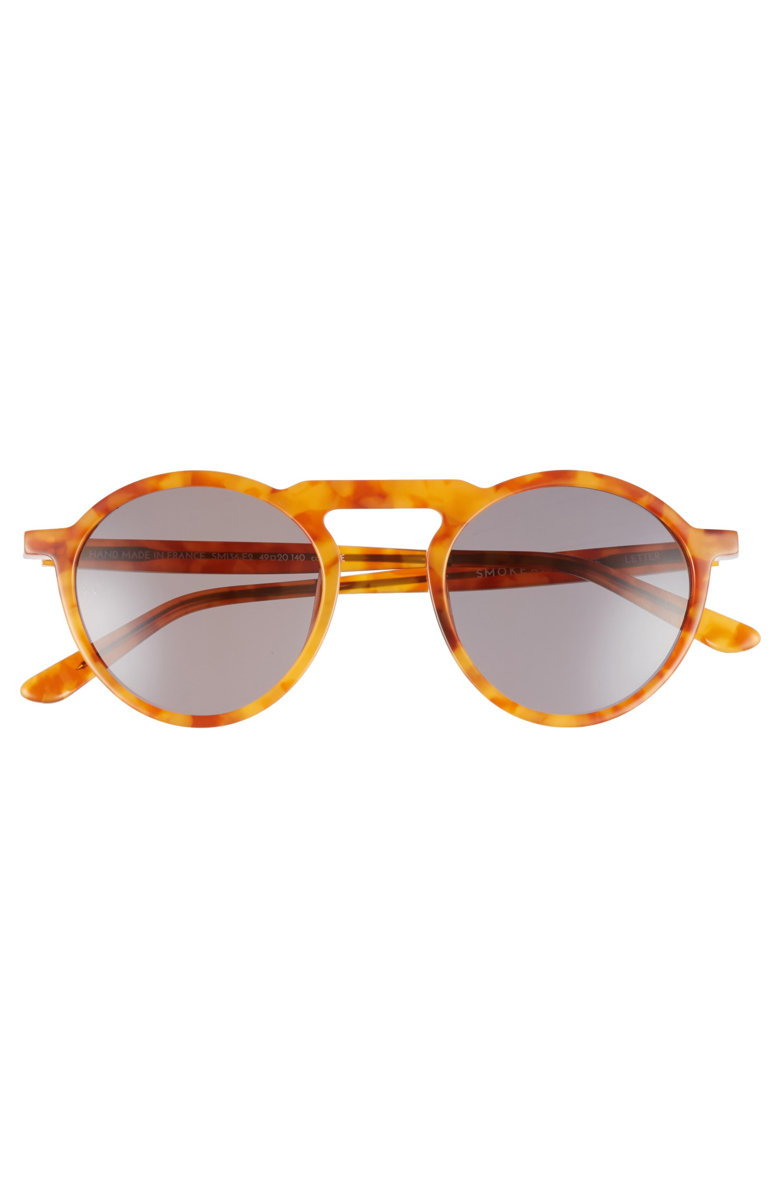 Letter 49mm Round Sunglasses,                             Alternate thumbnail 2, color,                             206
