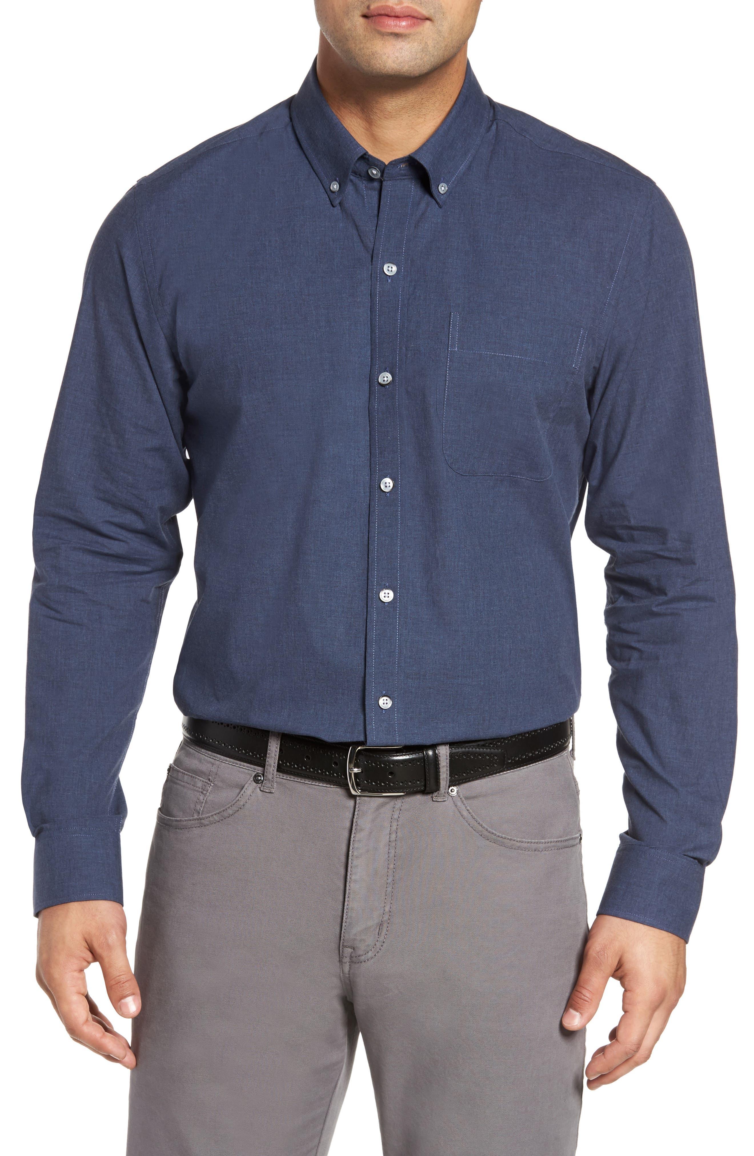 Cutter & Buck Heather Non-Iron Sport Shirt, Blue