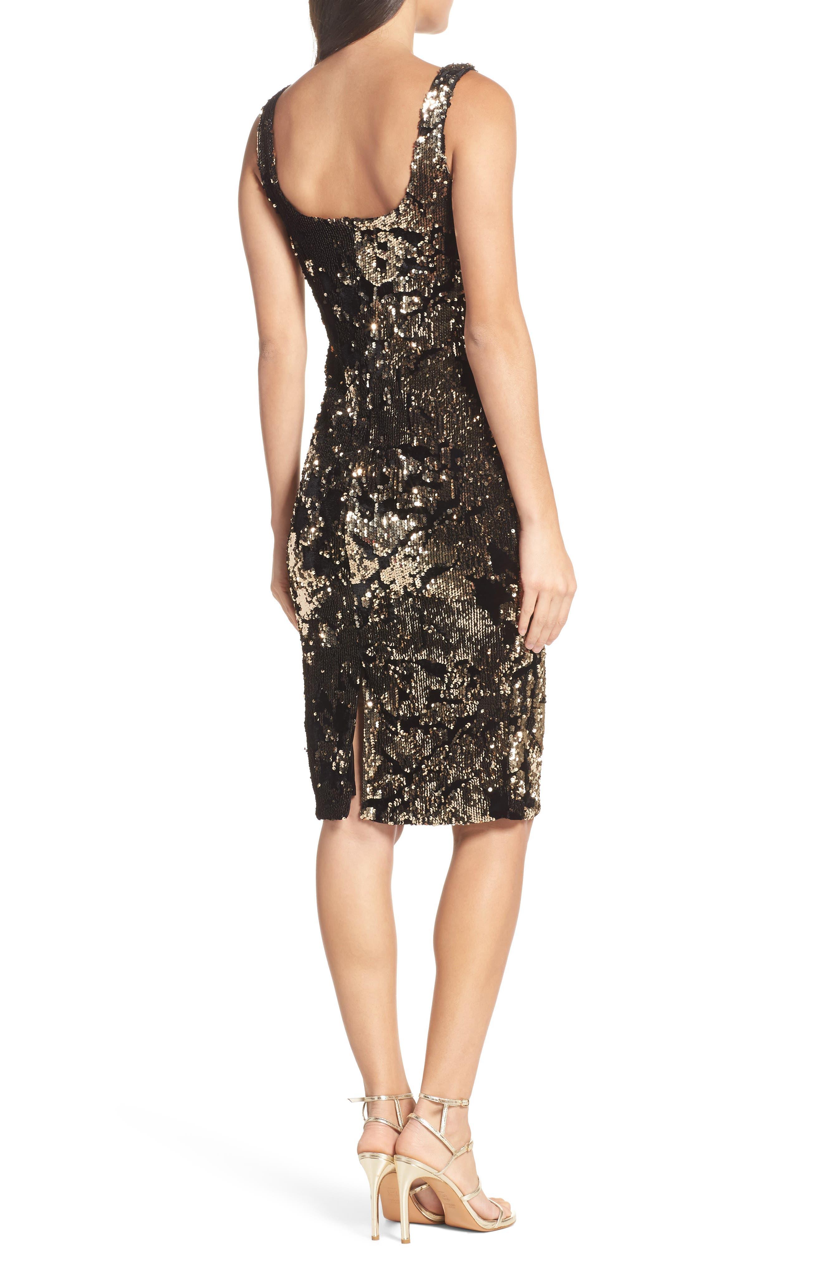 Sequin Velvet Body-Con Dress,                             Alternate thumbnail 2, color,