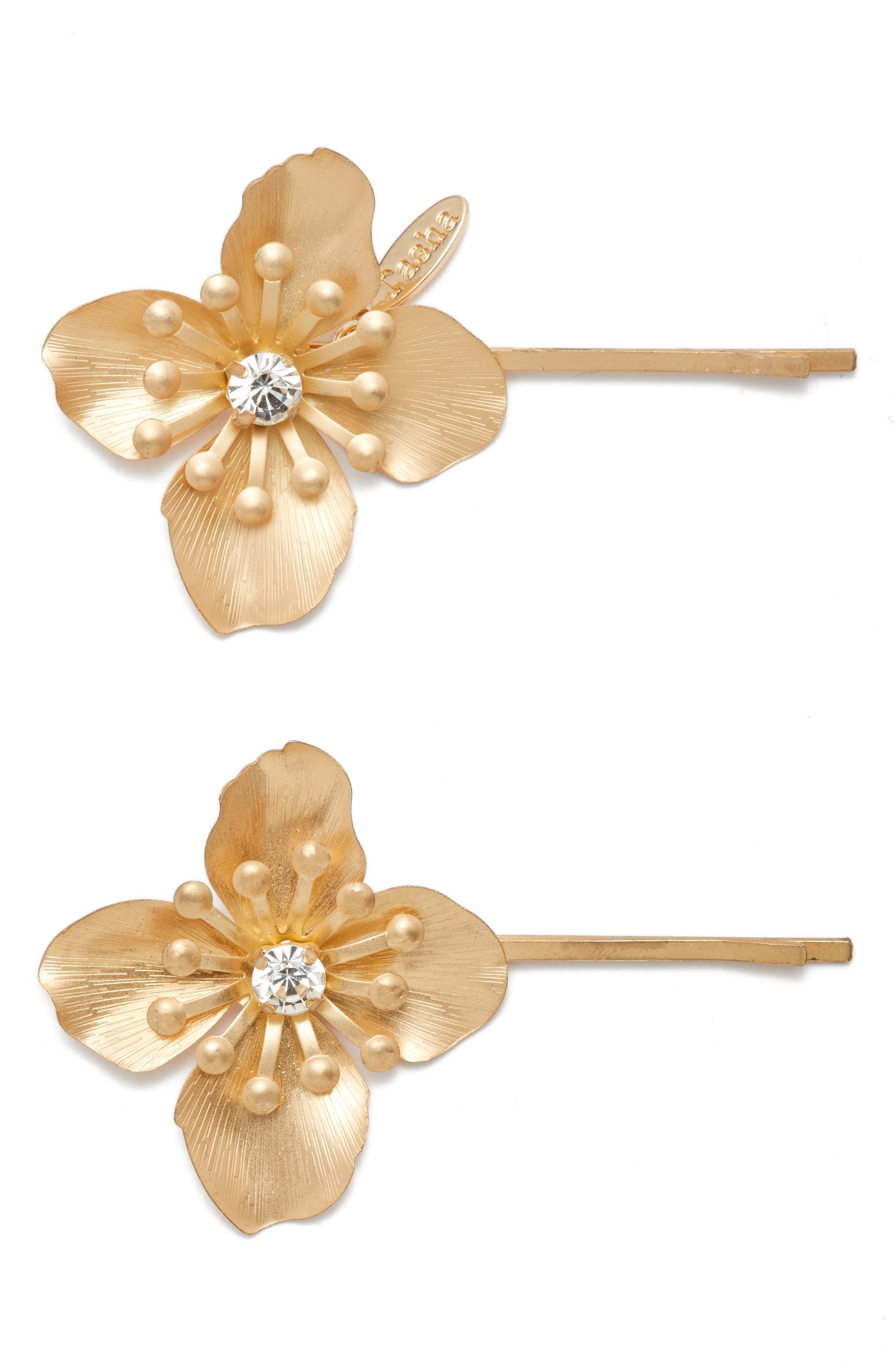 Set of 2 Blooming Bobby Pins,                             Main thumbnail 1, color,                             710