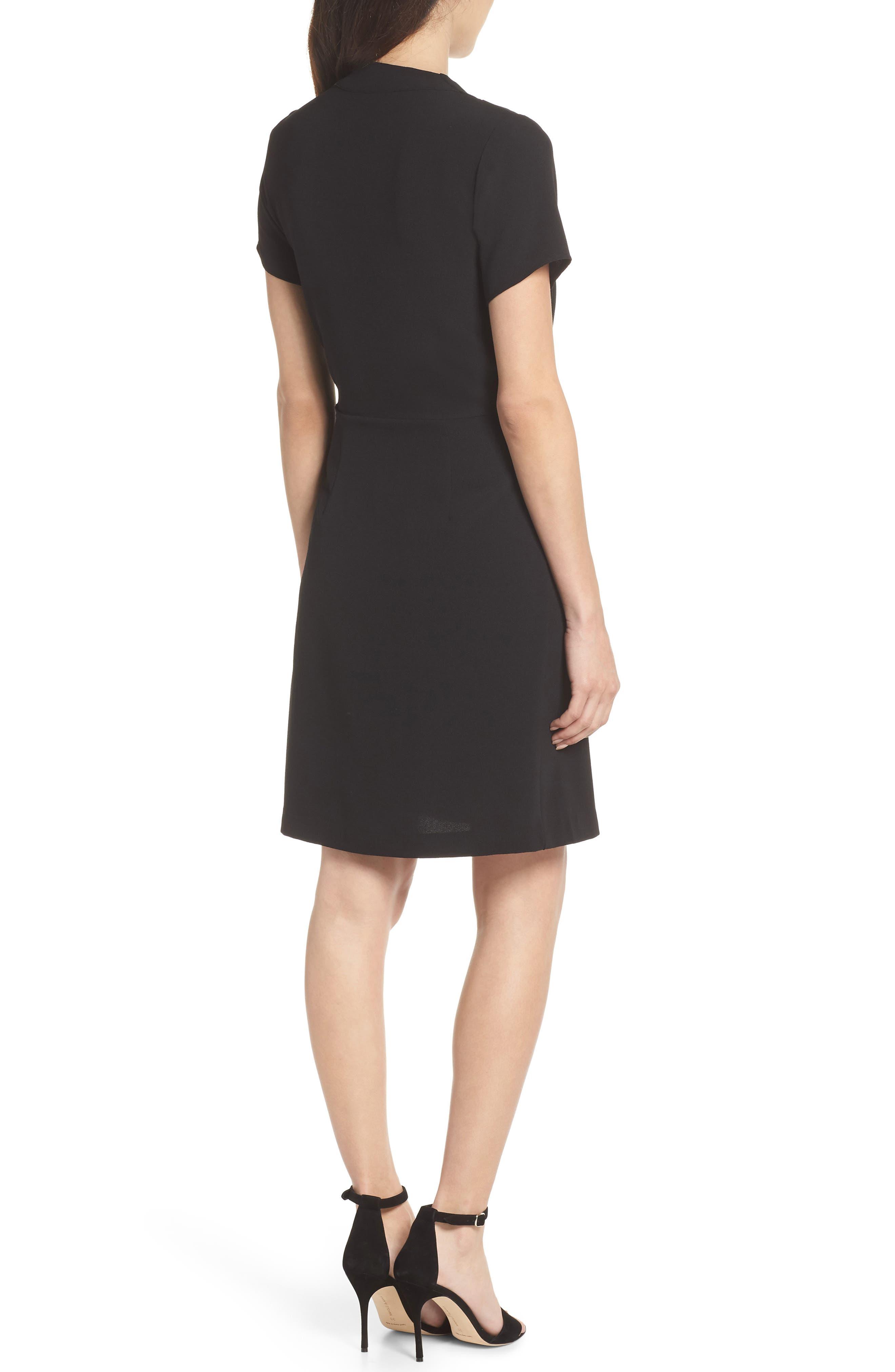Tie Front Sheath Dress,                             Alternate thumbnail 2, color,                             001