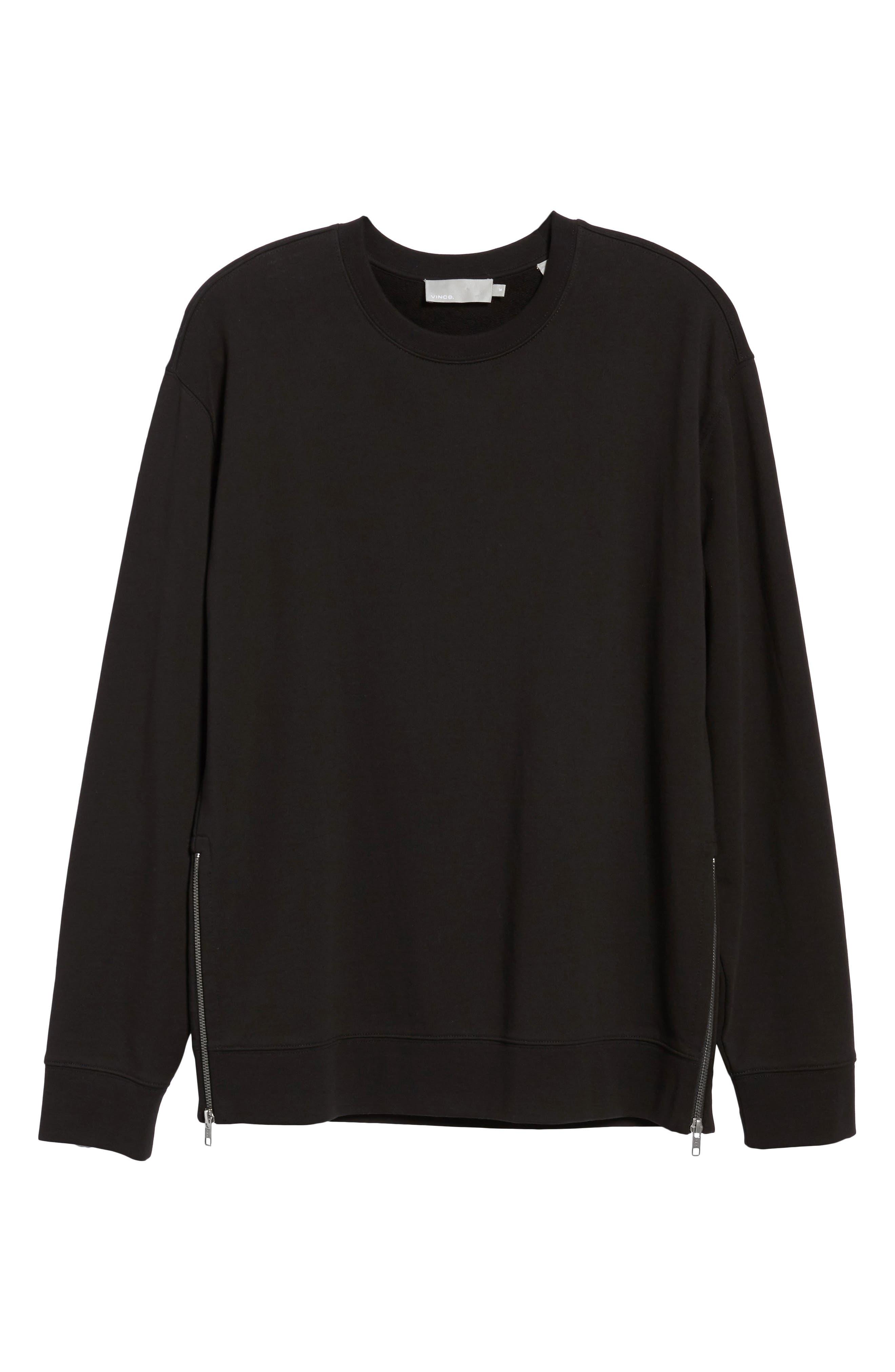 Side Zip Crewneck Sweatshirt,                             Alternate thumbnail 6, color,                             001