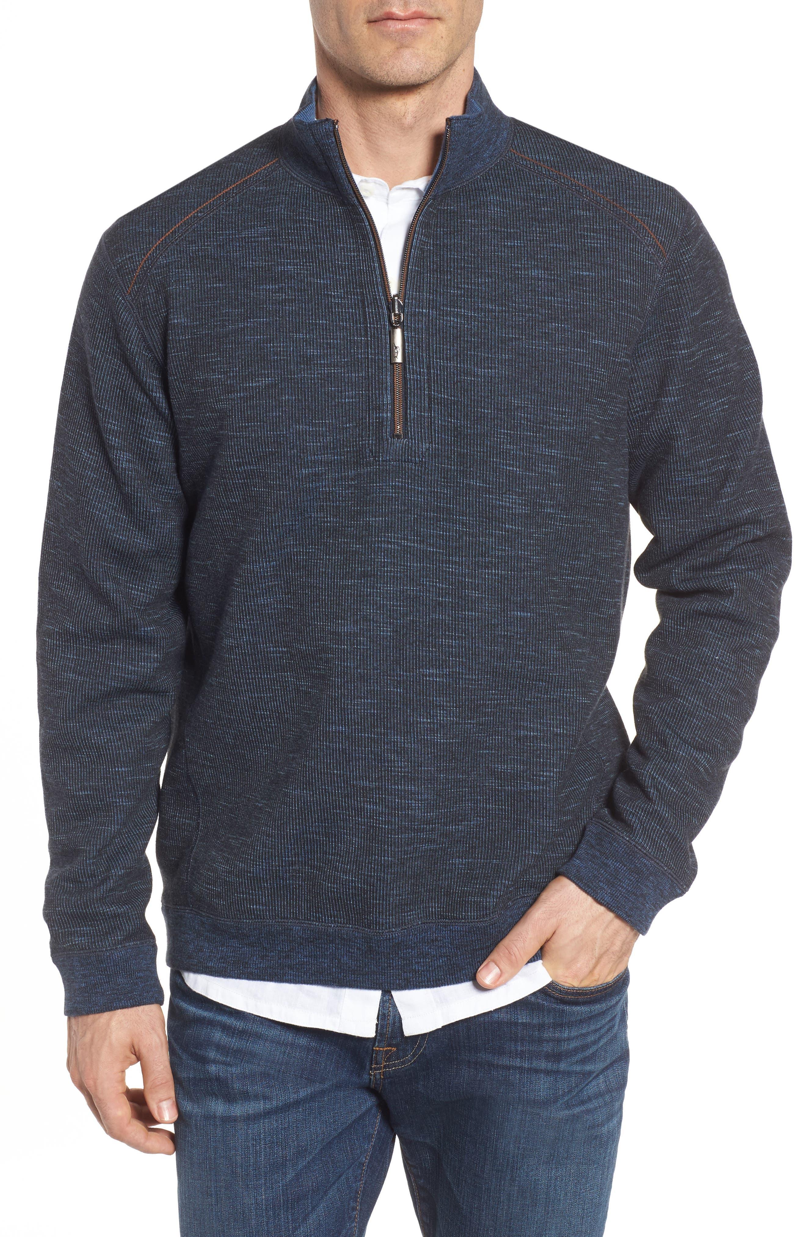 Flipsider Reversible Quarter-Zip Pullover,                             Main thumbnail 1, color,                             JET BLACK