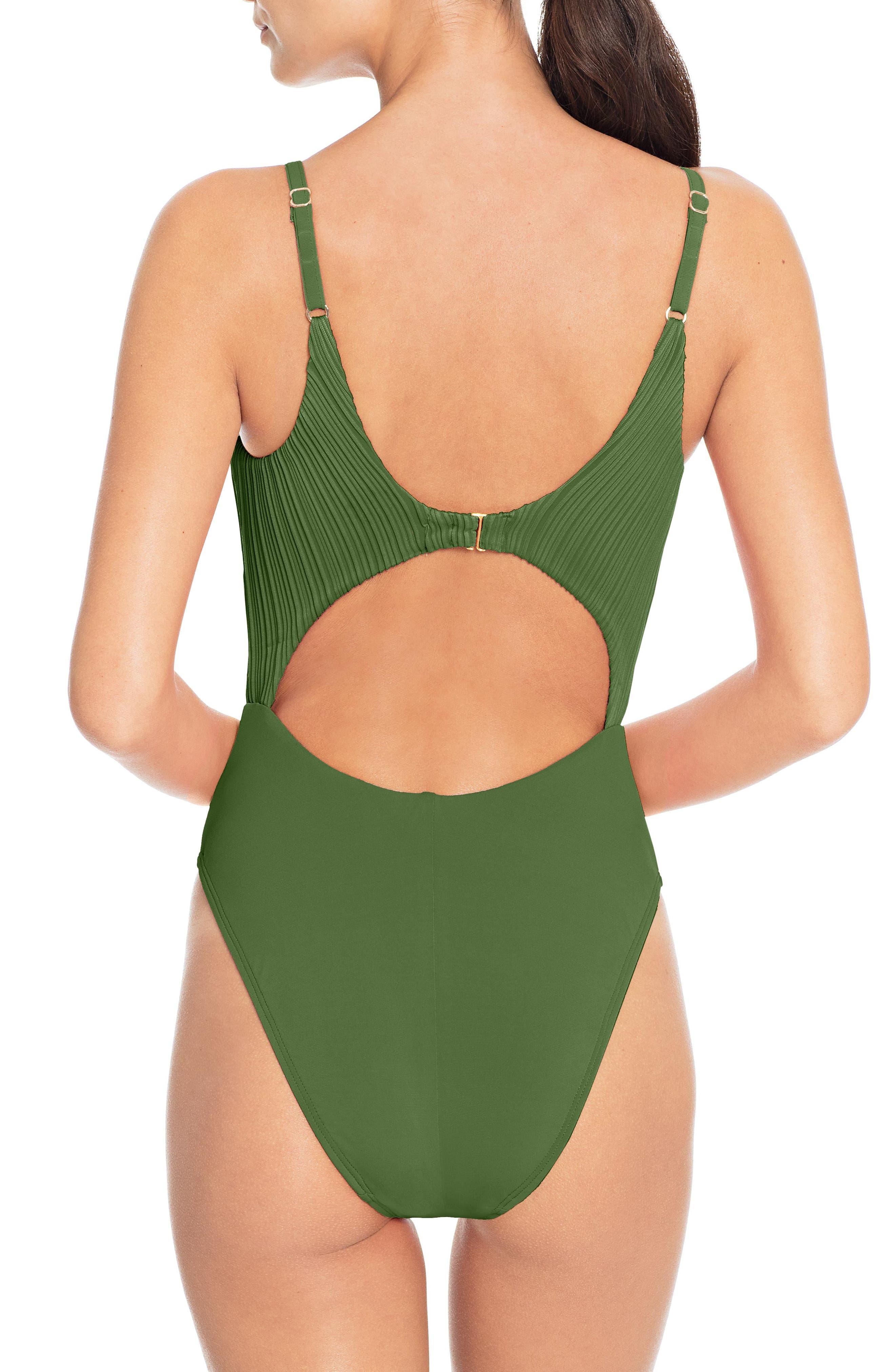 Tie Front One-Piece Swimsuit,                             Alternate thumbnail 2, color,                             BASIL