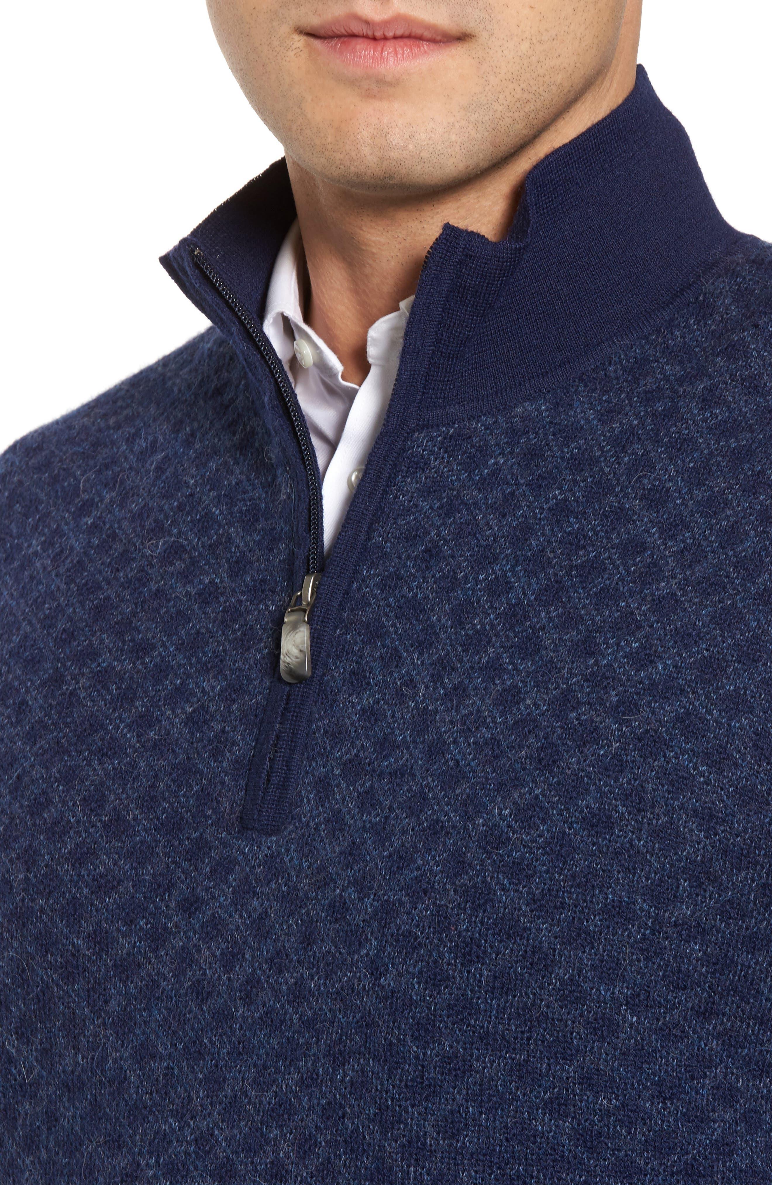Diamond Quarter Zip Alpaca Sweater,                             Alternate thumbnail 8, color,