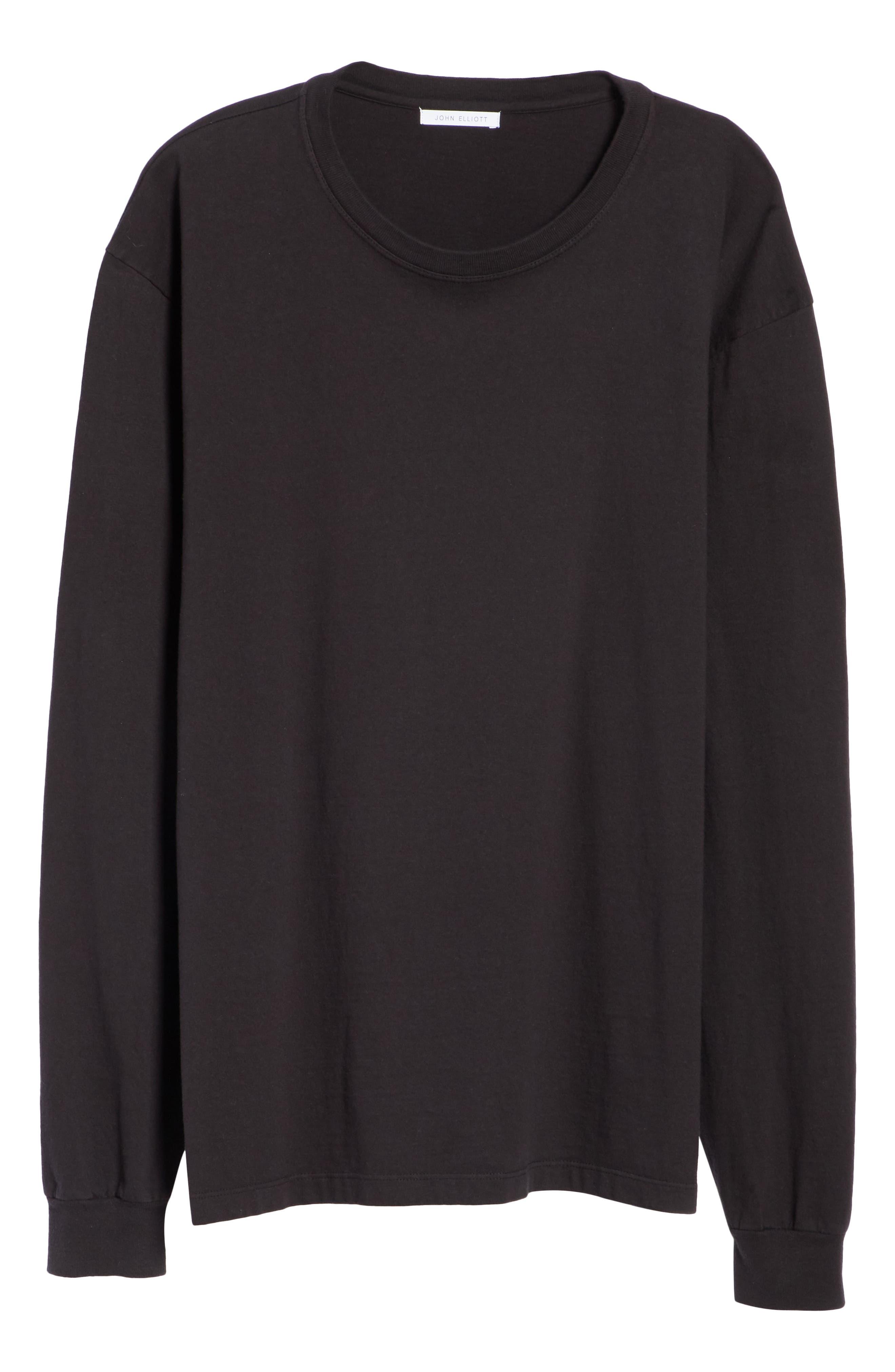 Long Sleeve Crewneck T-Shirt,                             Alternate thumbnail 6, color,                             BLACK