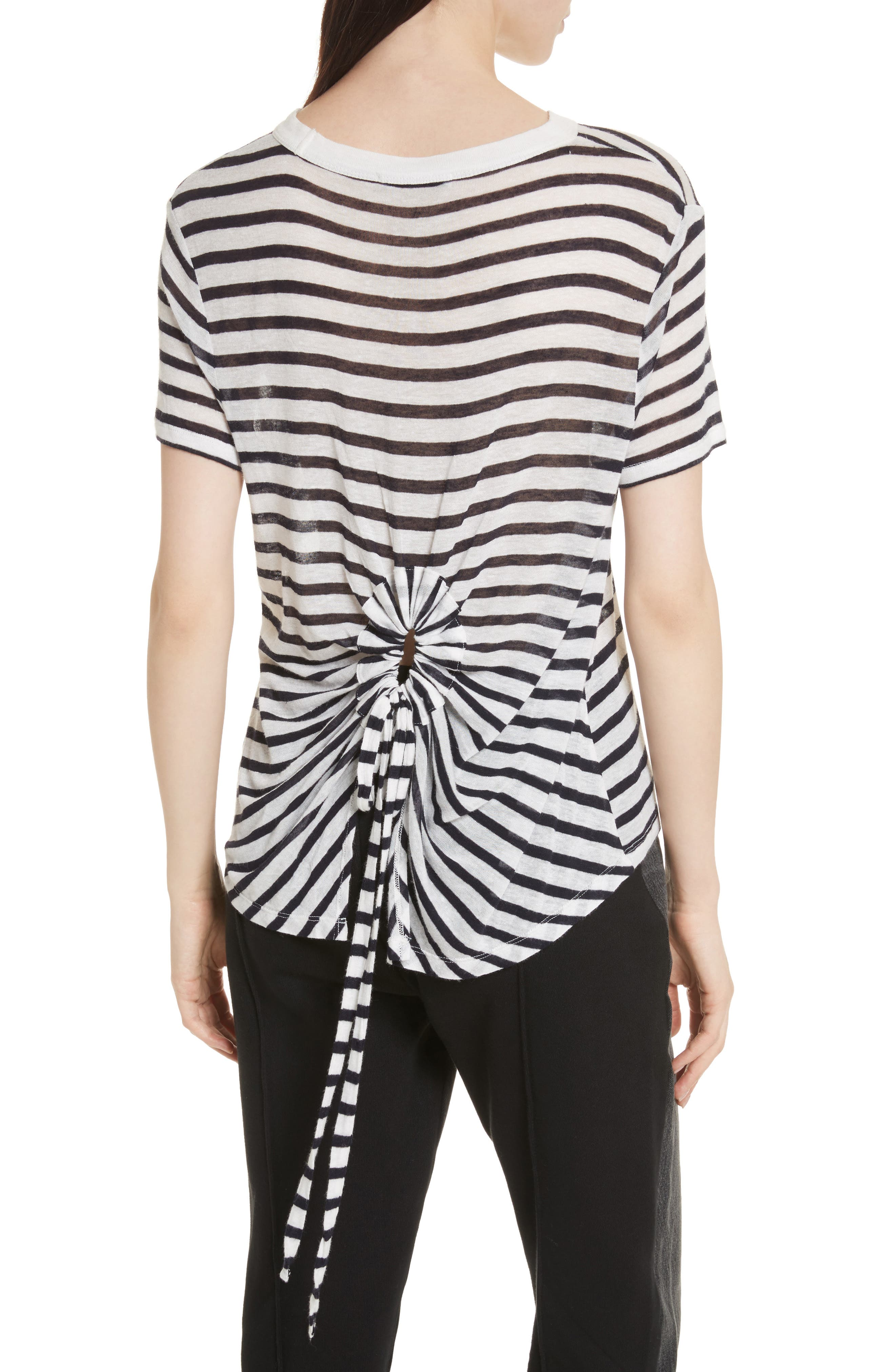 Back Tie Stripe Slub Jersey Tee,                             Alternate thumbnail 2, color,                             906