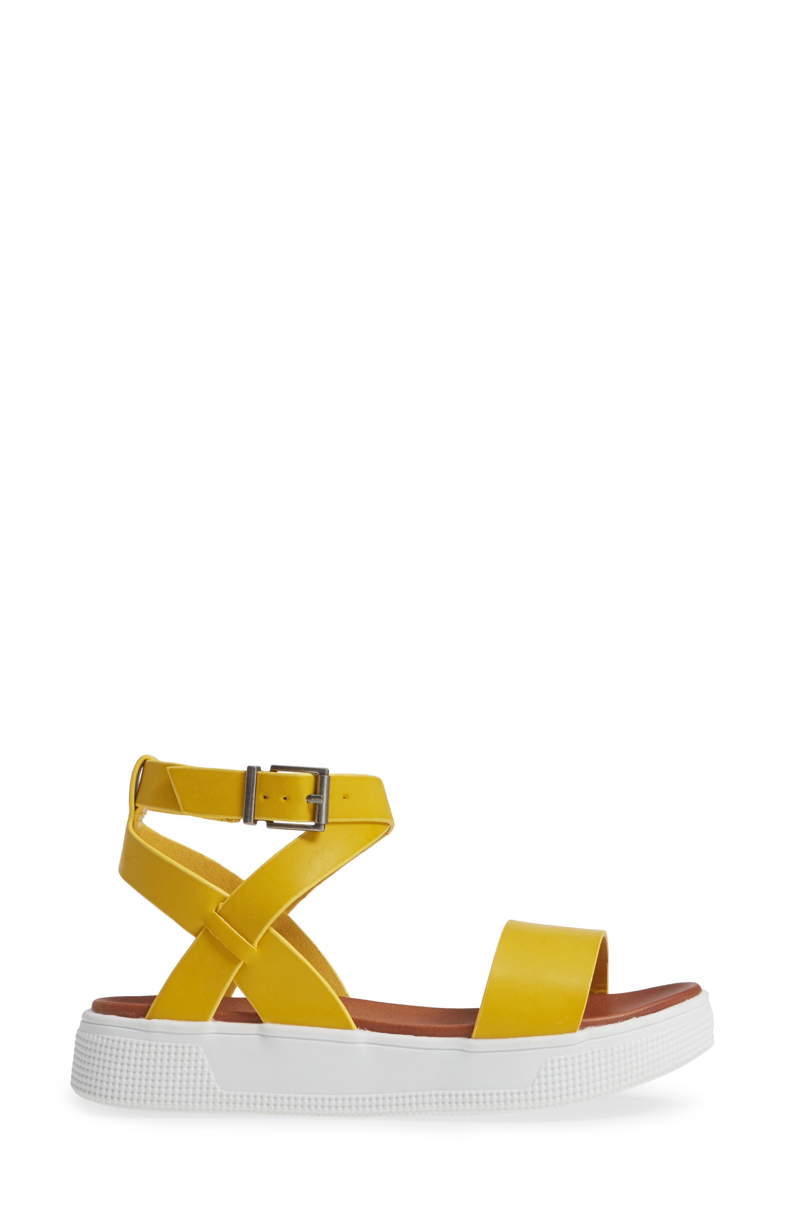 Calla Platform Sandal,                             Alternate thumbnail 3, color,                             YELLOW FAUX LEATHER