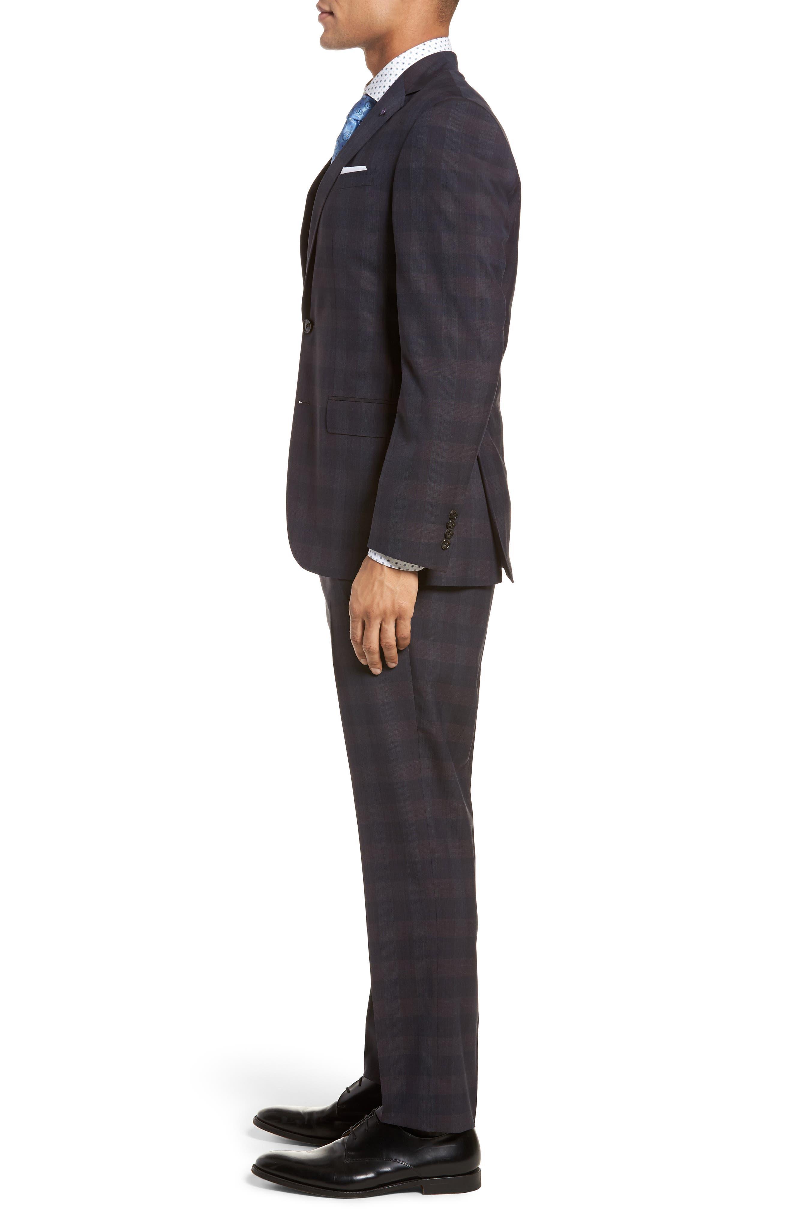 Jay Trim Fit Plaid Wool Suit,                             Alternate thumbnail 3, color,                             001