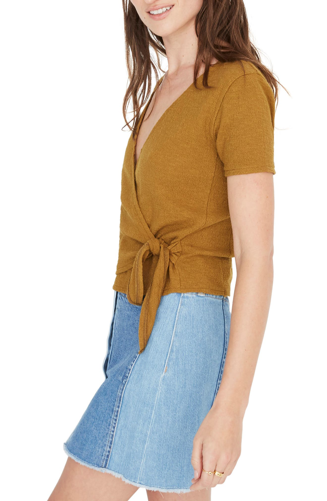 Texture & Thread Wrap Top,                             Alternate thumbnail 3, color,                             300