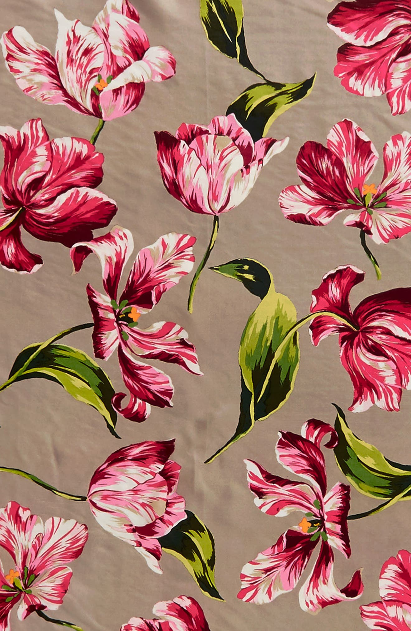 Buckingham Tulips Silk Square Scarf,                             Alternate thumbnail 4, color,                             263