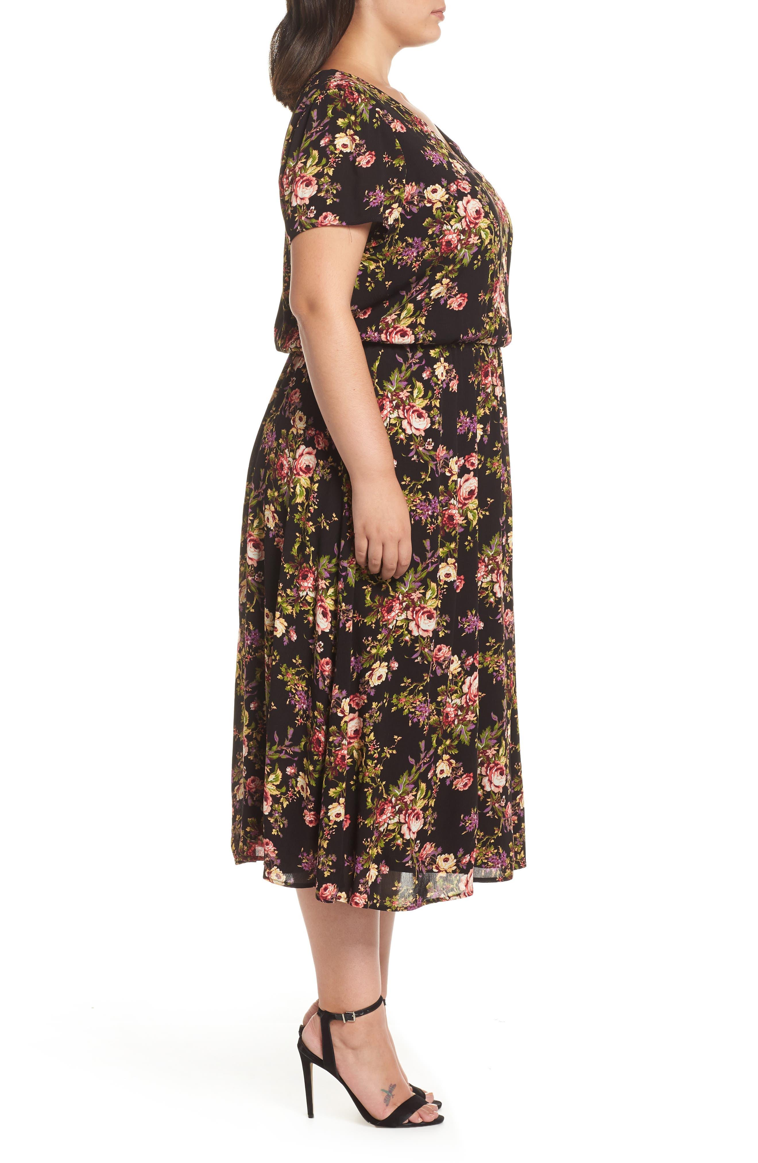 Blouson Midi Dress,                             Alternate thumbnail 3, color,                             BLACK TAPESTRY FLORAL