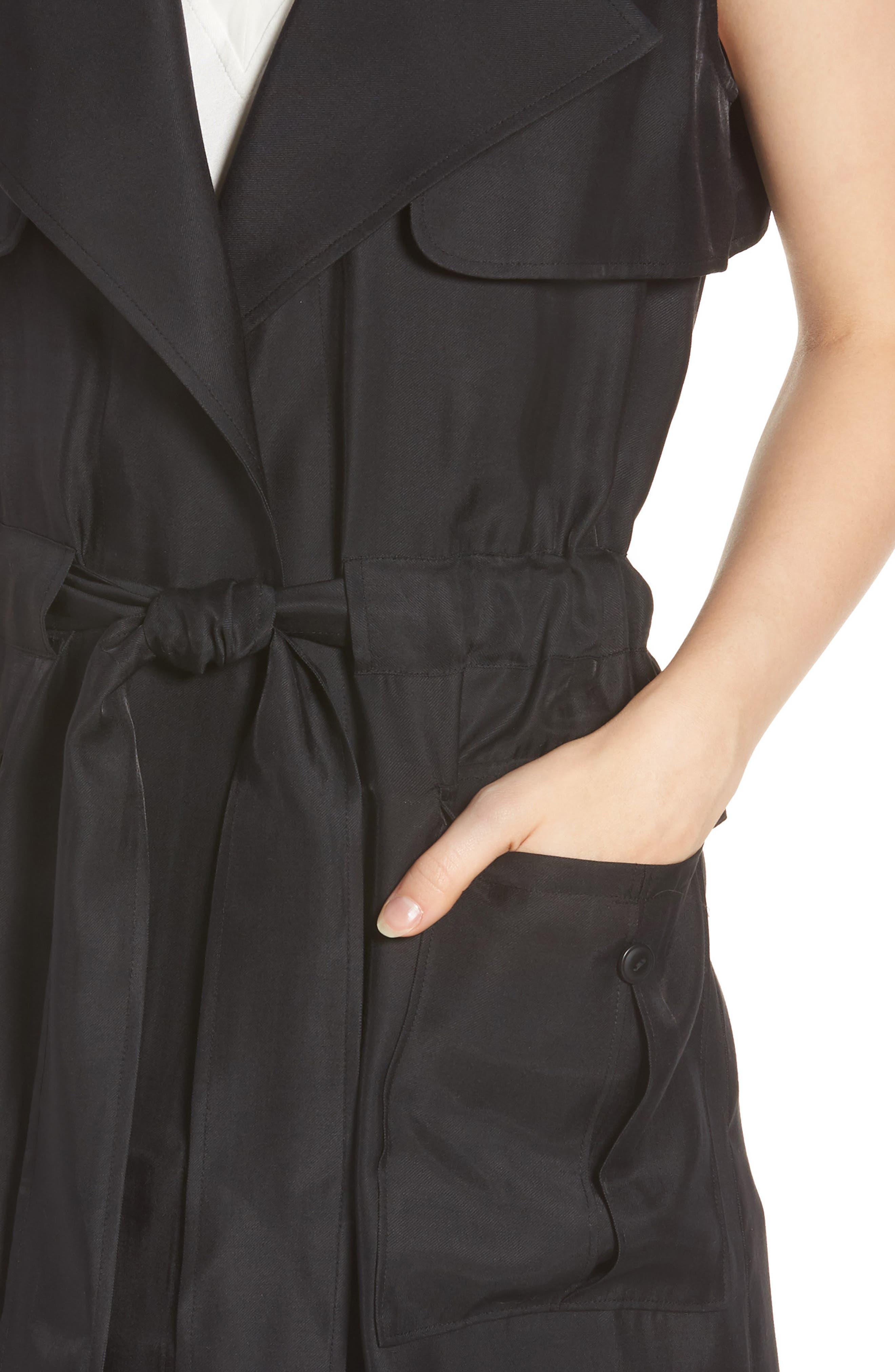 Belted Sleeveless Jacket,                             Alternate thumbnail 4, color,                             001