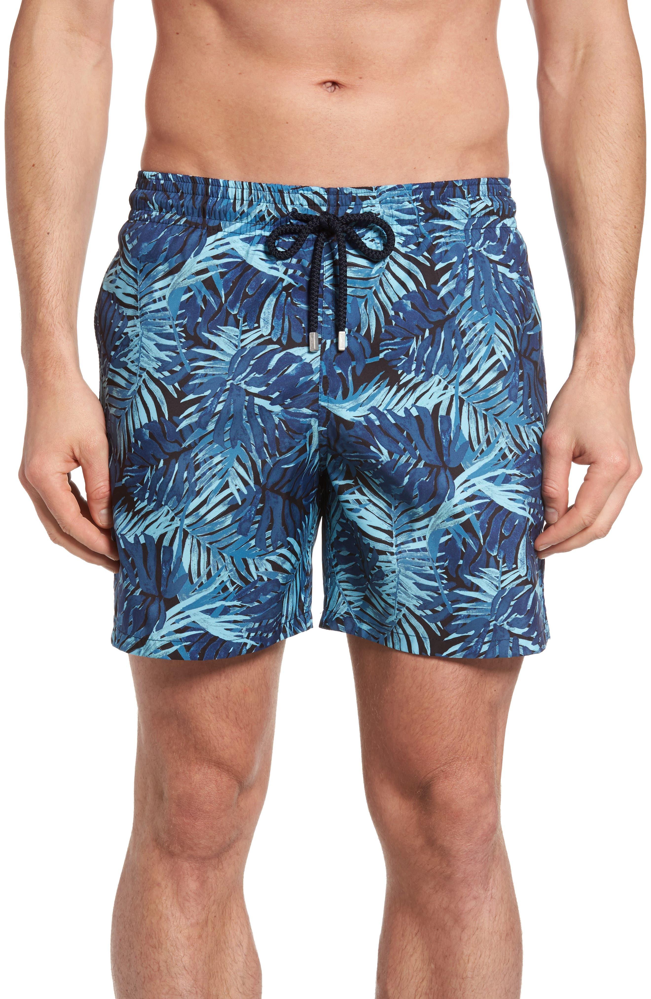Mahina Madrague Print Packable Swim Trunks,                         Main,                         color, NAVY BLUE