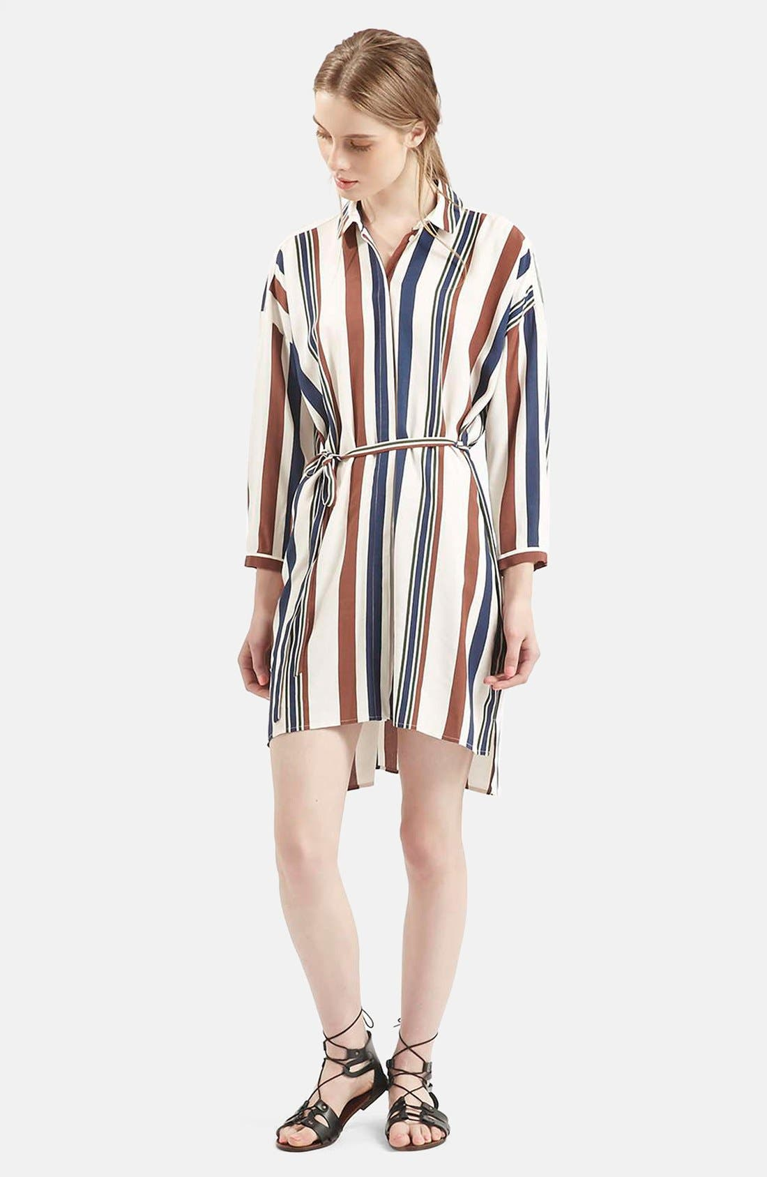 Stripe Belted Shirtdress, Main, color, 900
