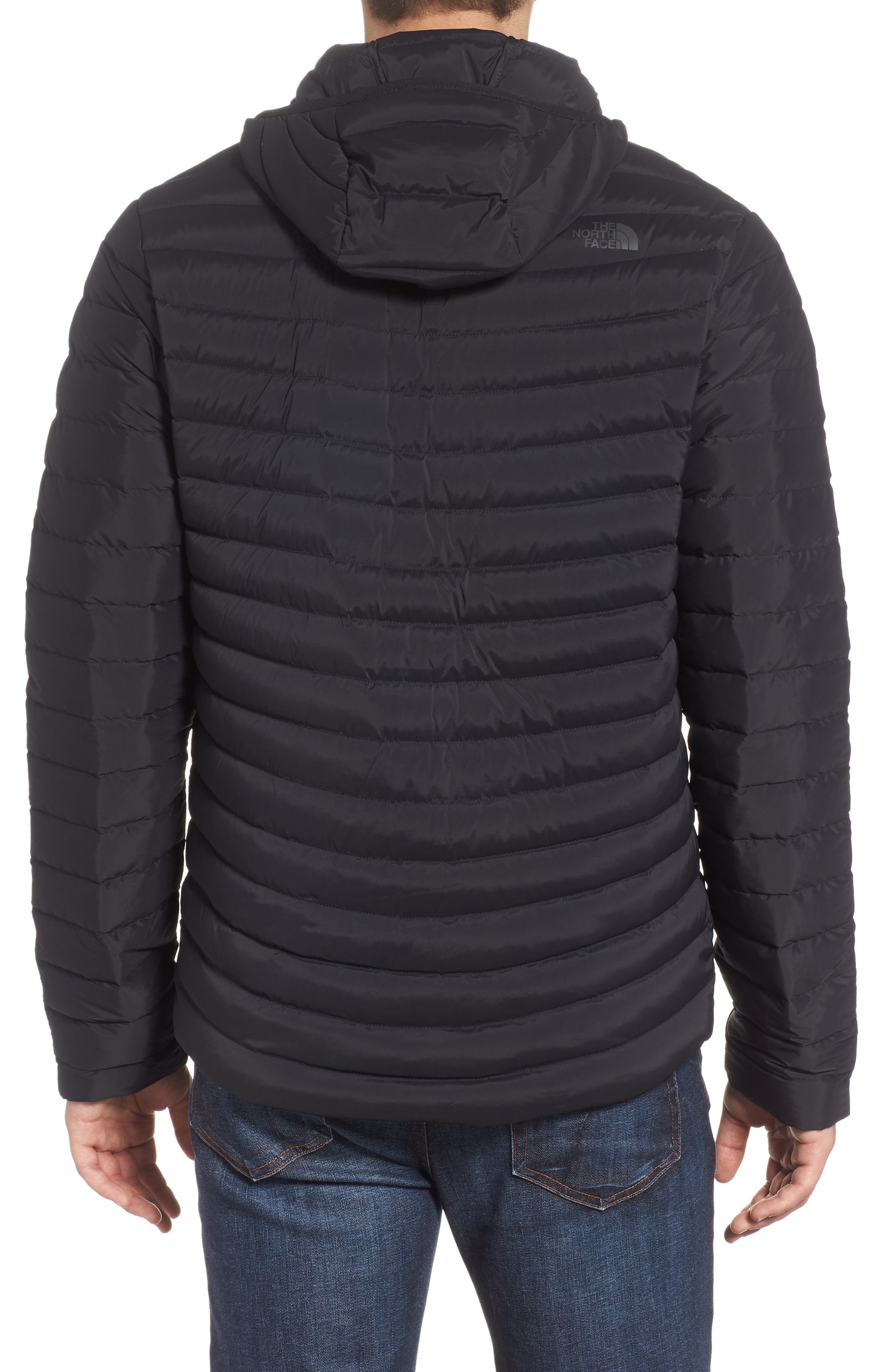 Packable Stretch Down Hooded Jacket,                             Alternate thumbnail 2, color,                             TNF BLACK/ TNF BLACK