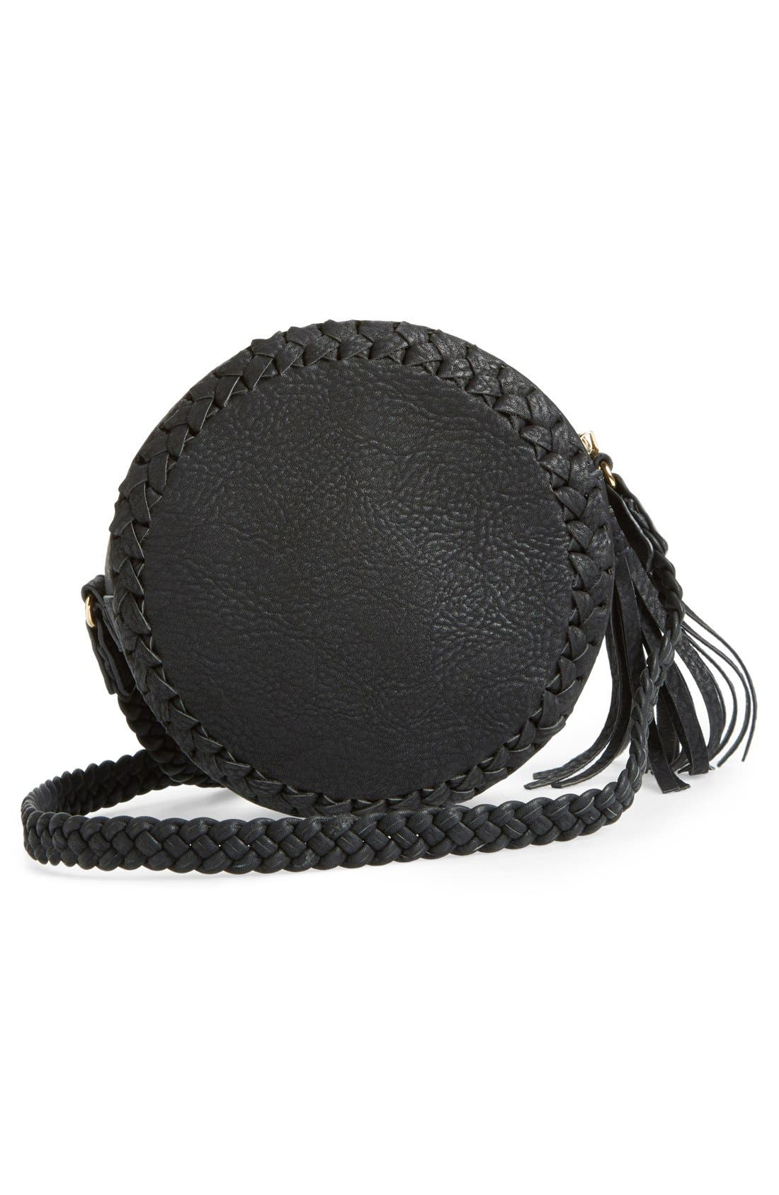 Faux Leather Round Crossbody Bag,                             Alternate thumbnail 5, color,                             001