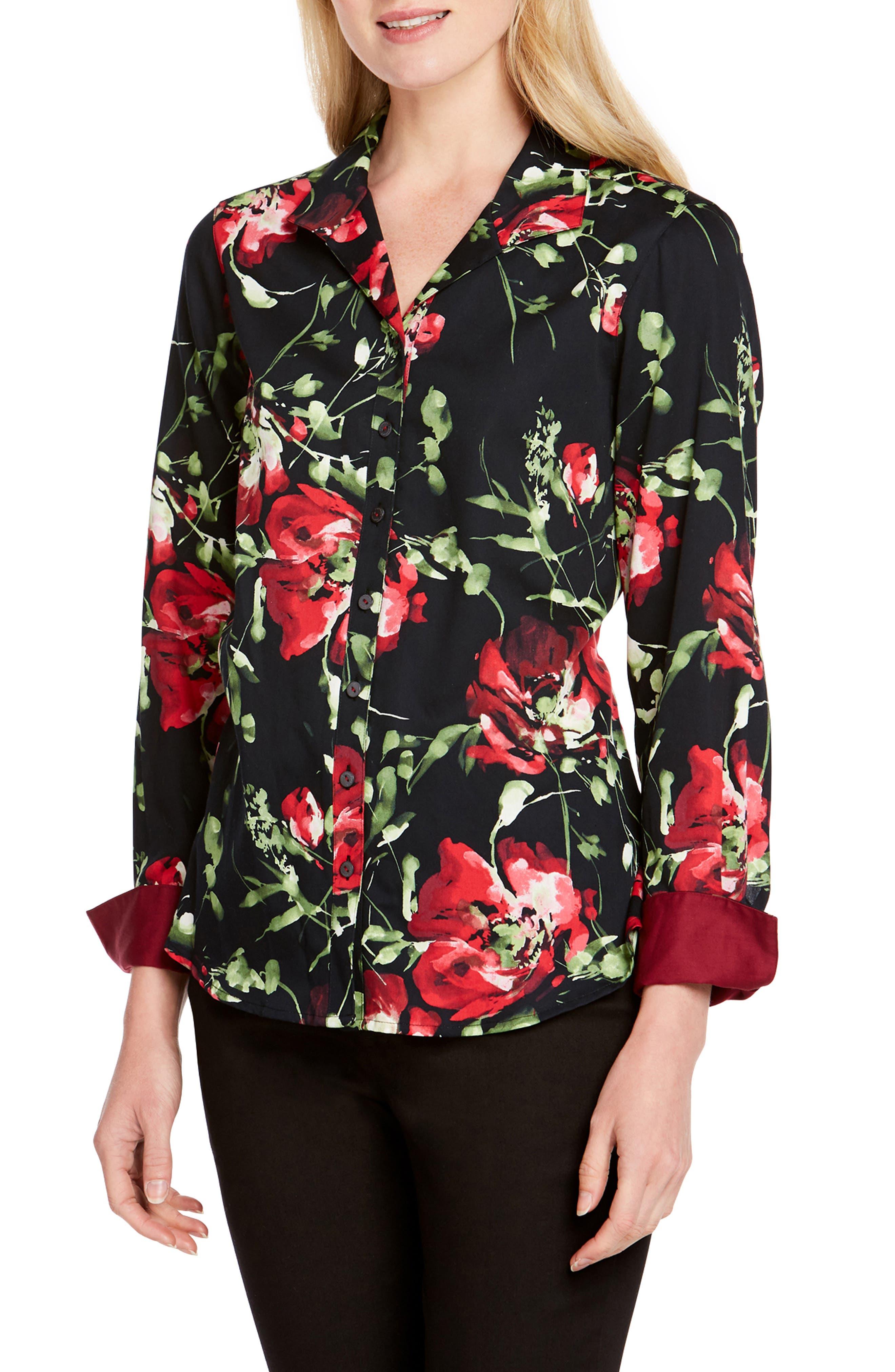 FOXCROFT Rhonda Cotton Floral-Print Shirt in Multi