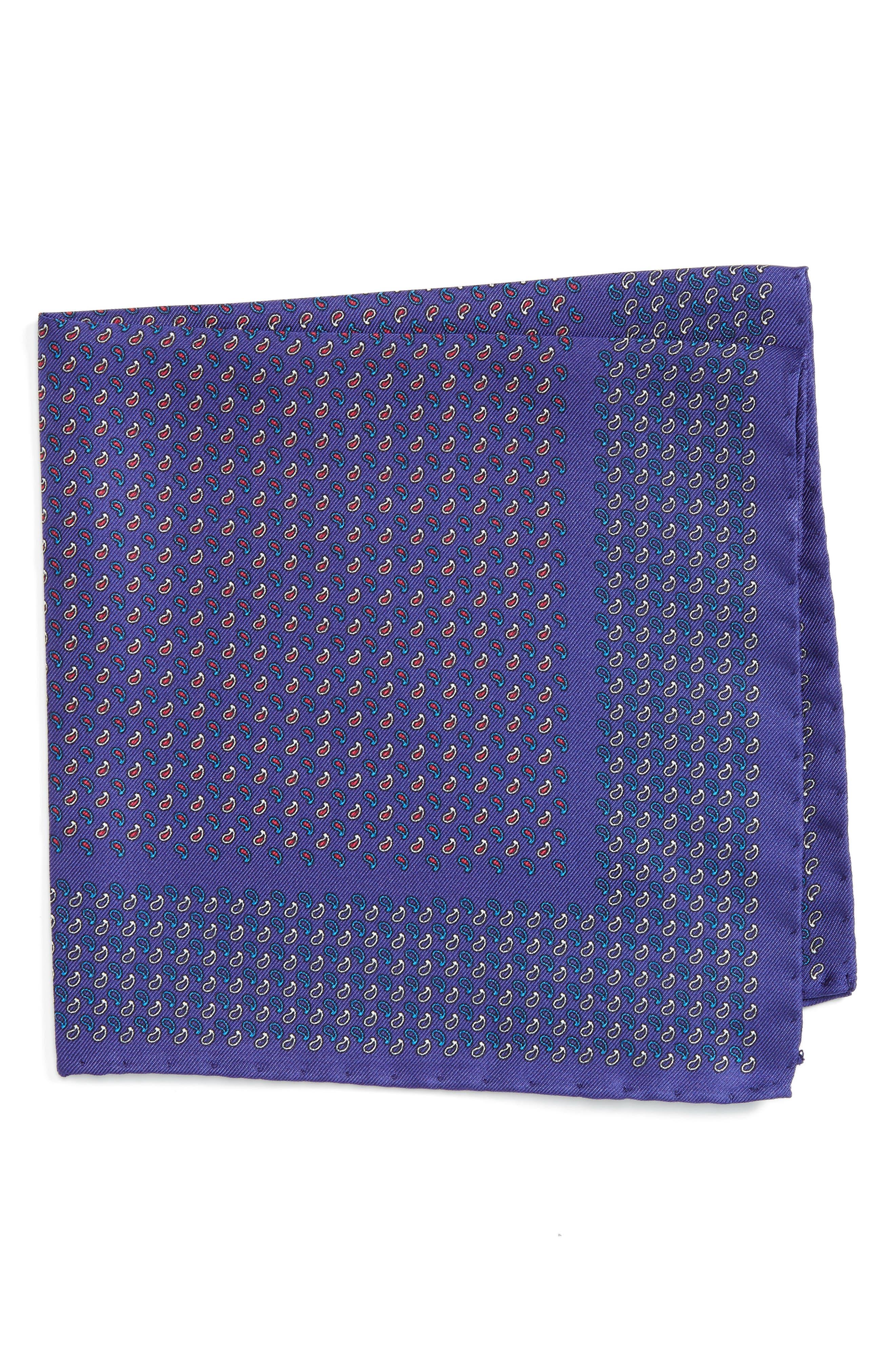 Paisley Silk Pocket Square,                             Main thumbnail 2, color,