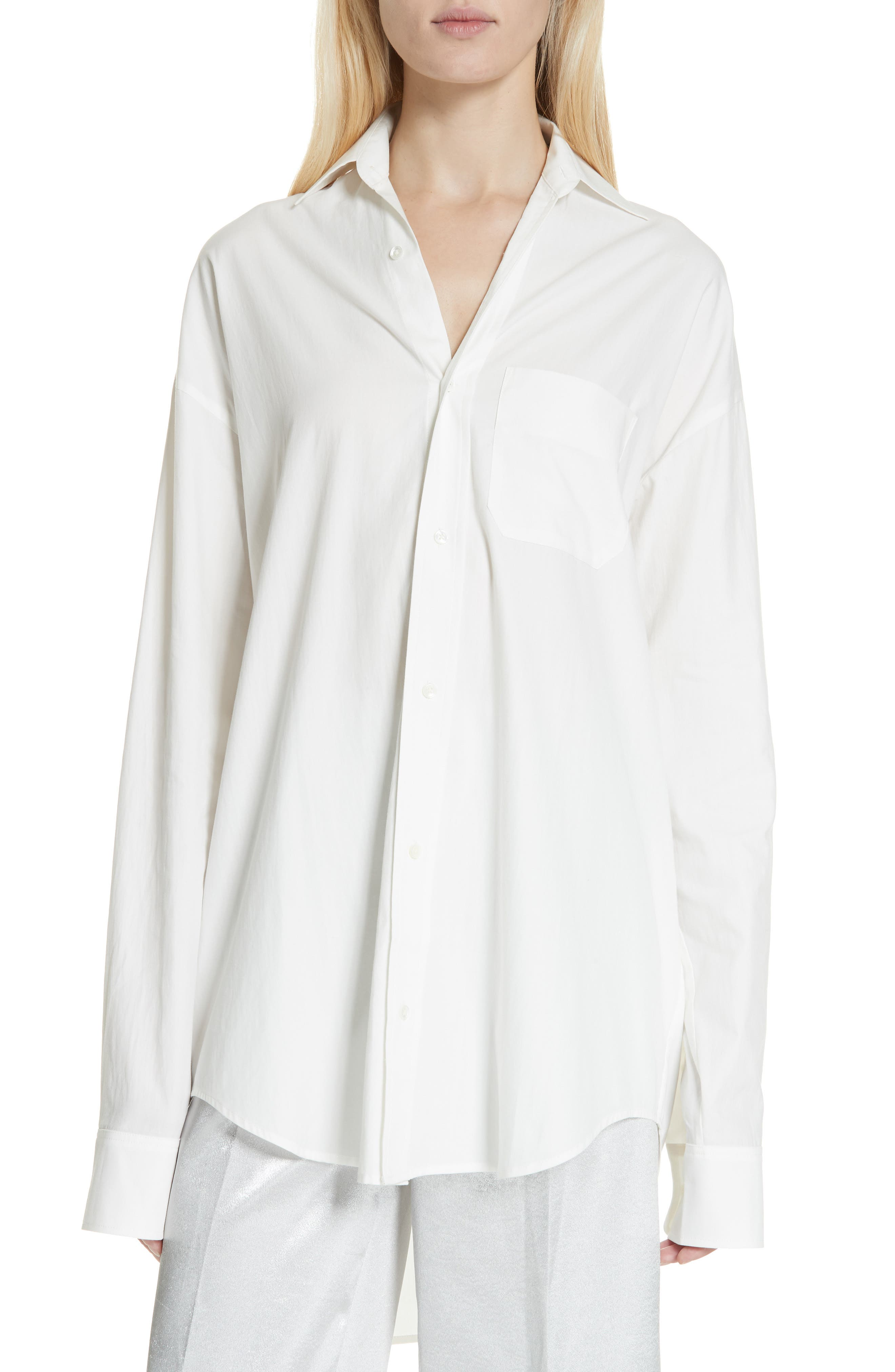 VINCE,                             Oversize Classic Cotton & Silk Shirt,                             Main thumbnail 1, color,                             137