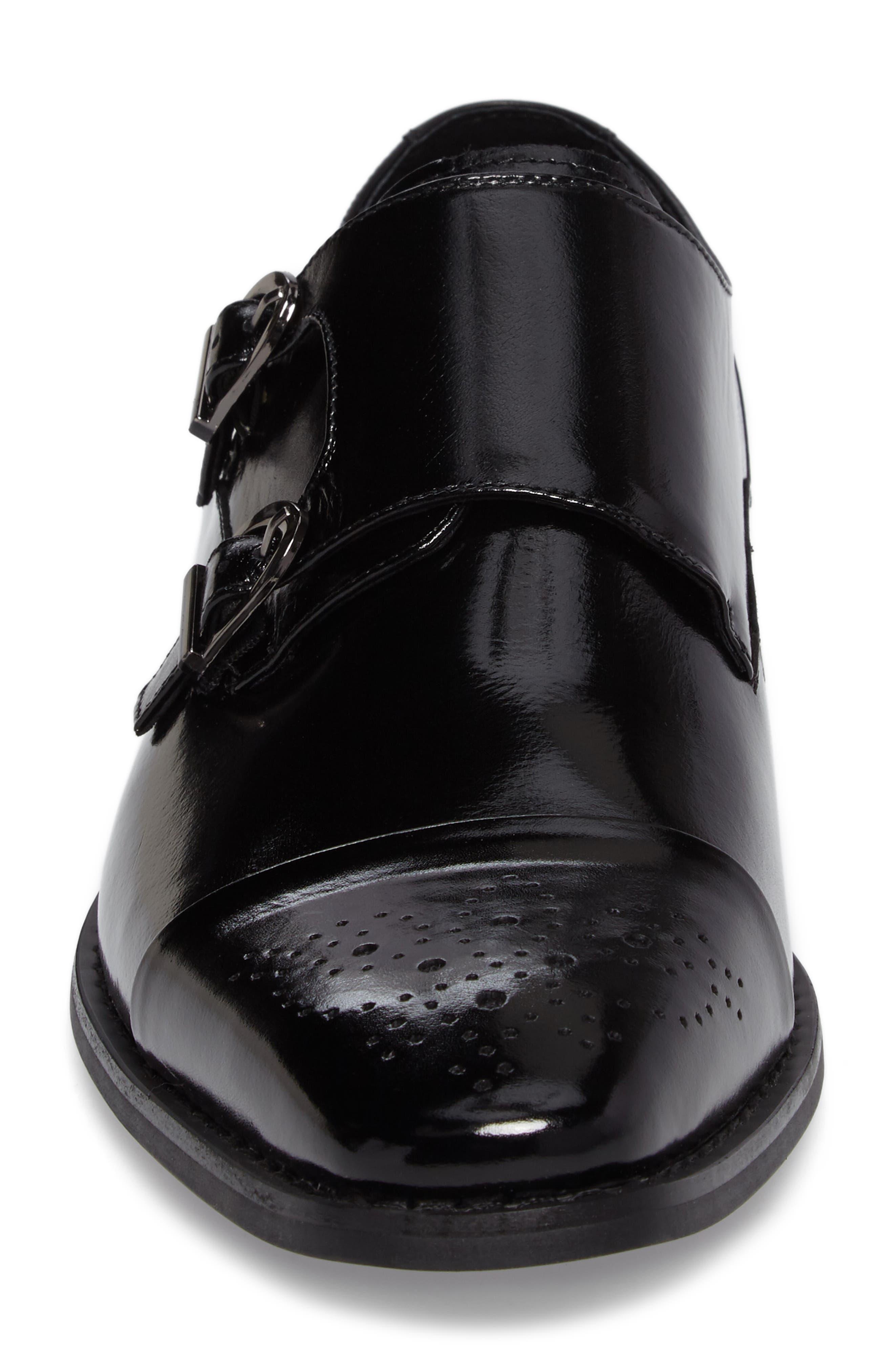 Trevor Double Monk Strap Shoe,                             Alternate thumbnail 4, color,                             001